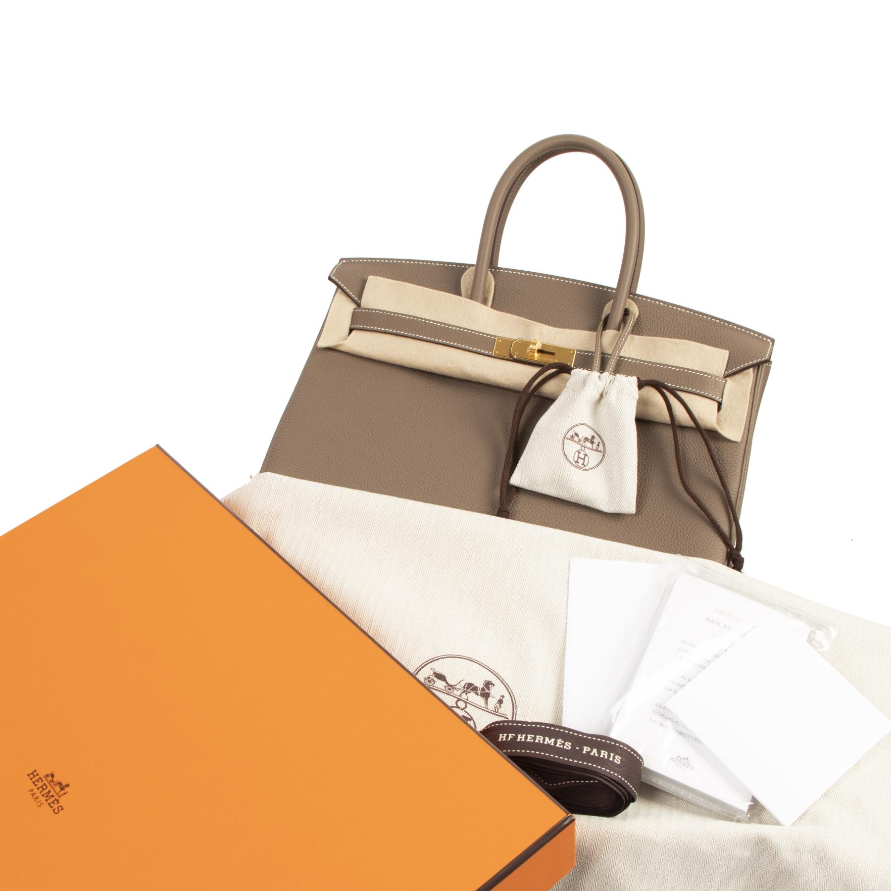 Authentieke tweedehands vintage Hermès Birkin 35 Etoupe Togo GHW koop online webshop LabelLOV