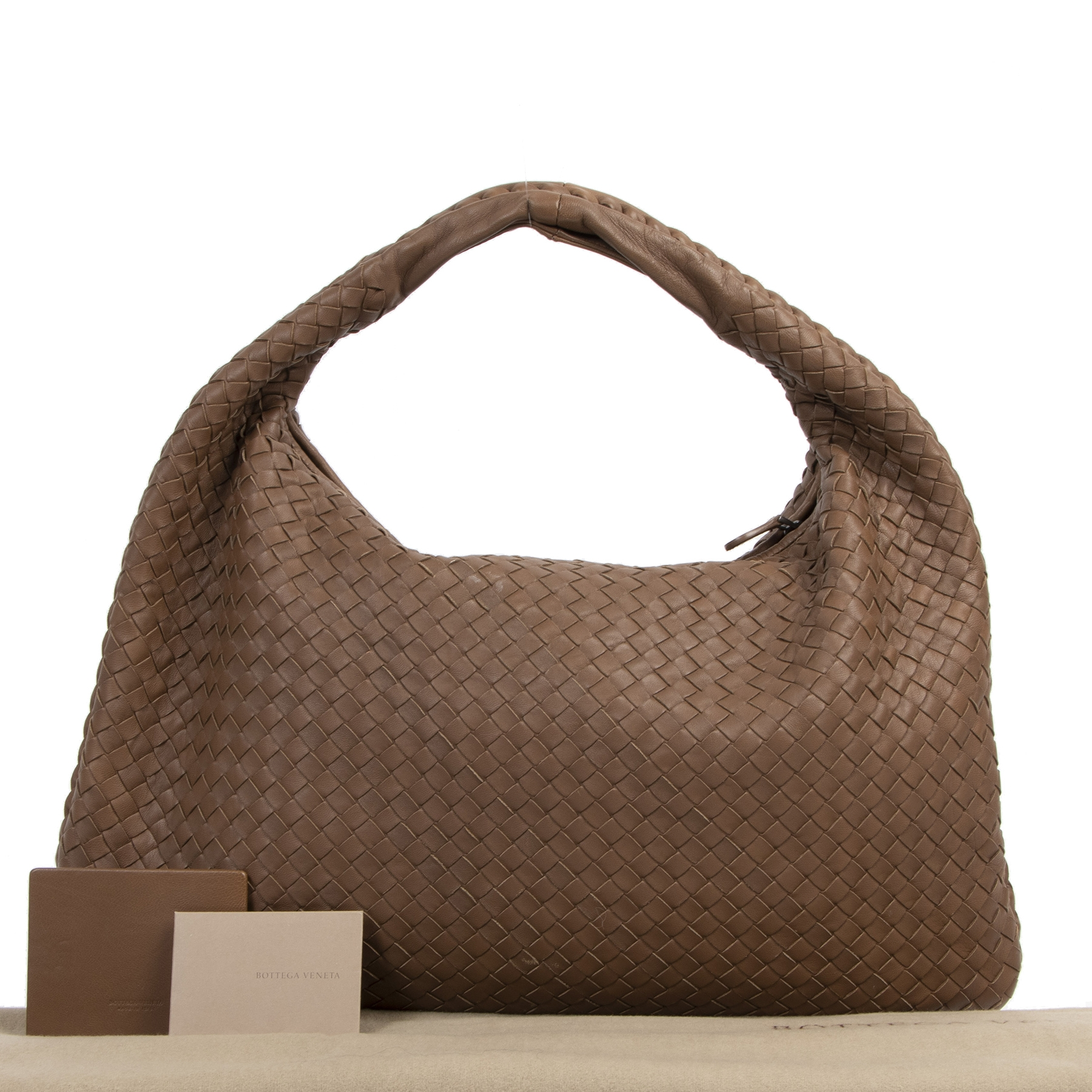 Authentieke tweedehands vintage Bottega Veneta Large Brown Hobo Bag koop online webshop LabelLOV