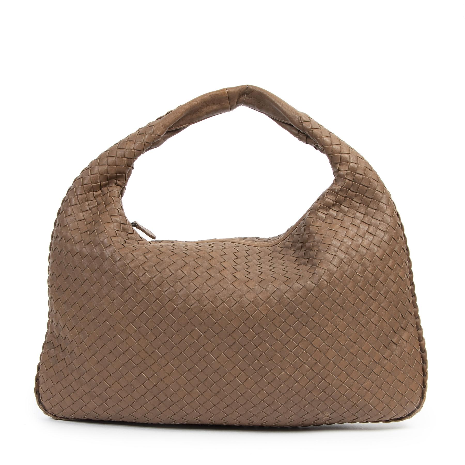 Authentieke tweedehands vintage Bottega Veneta Large Brown Hobo Bag koop online webshop LabelLOV