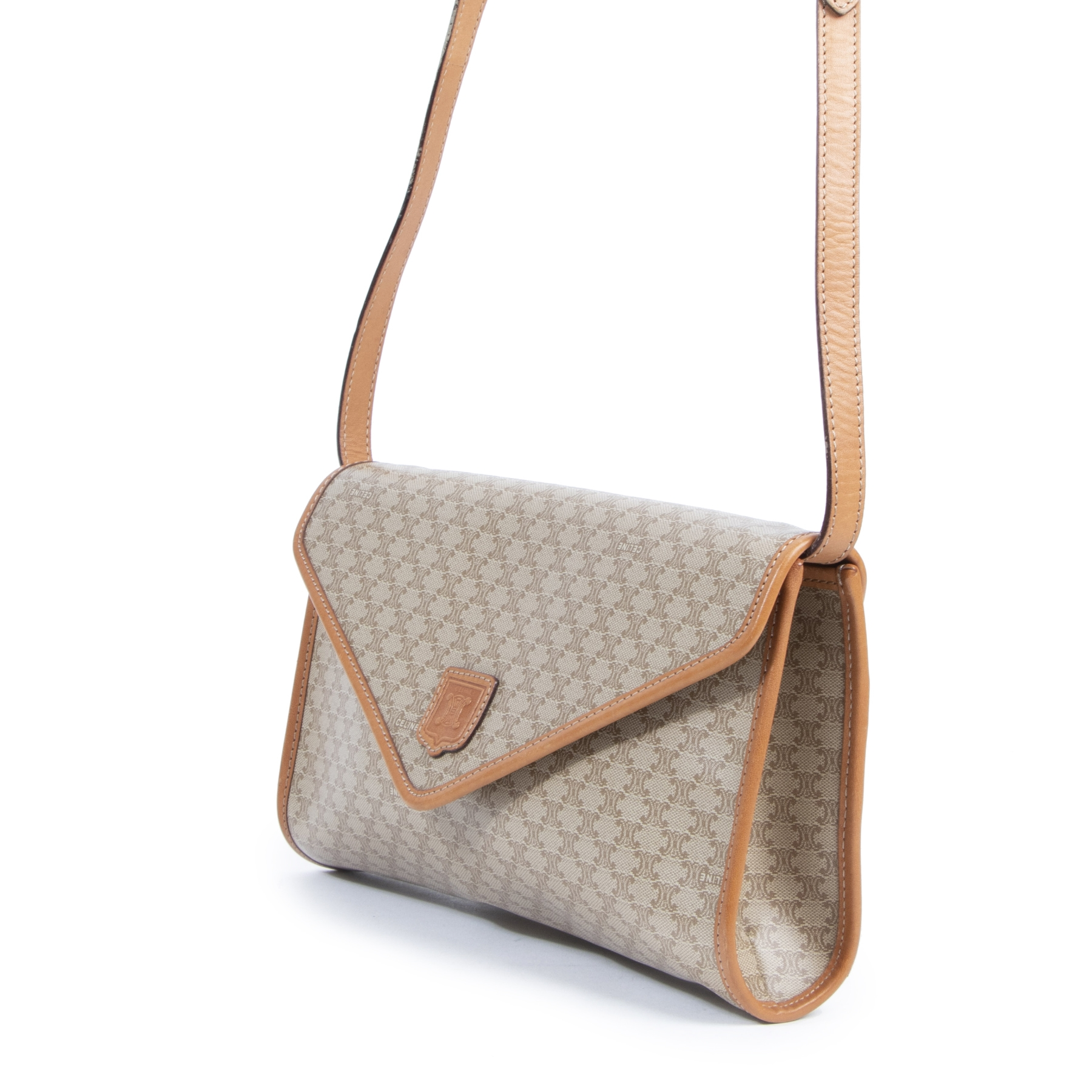 Authentic second-hand vintage Céline Beige Macadam Crossbody Bag buy online webshop LabelLOV