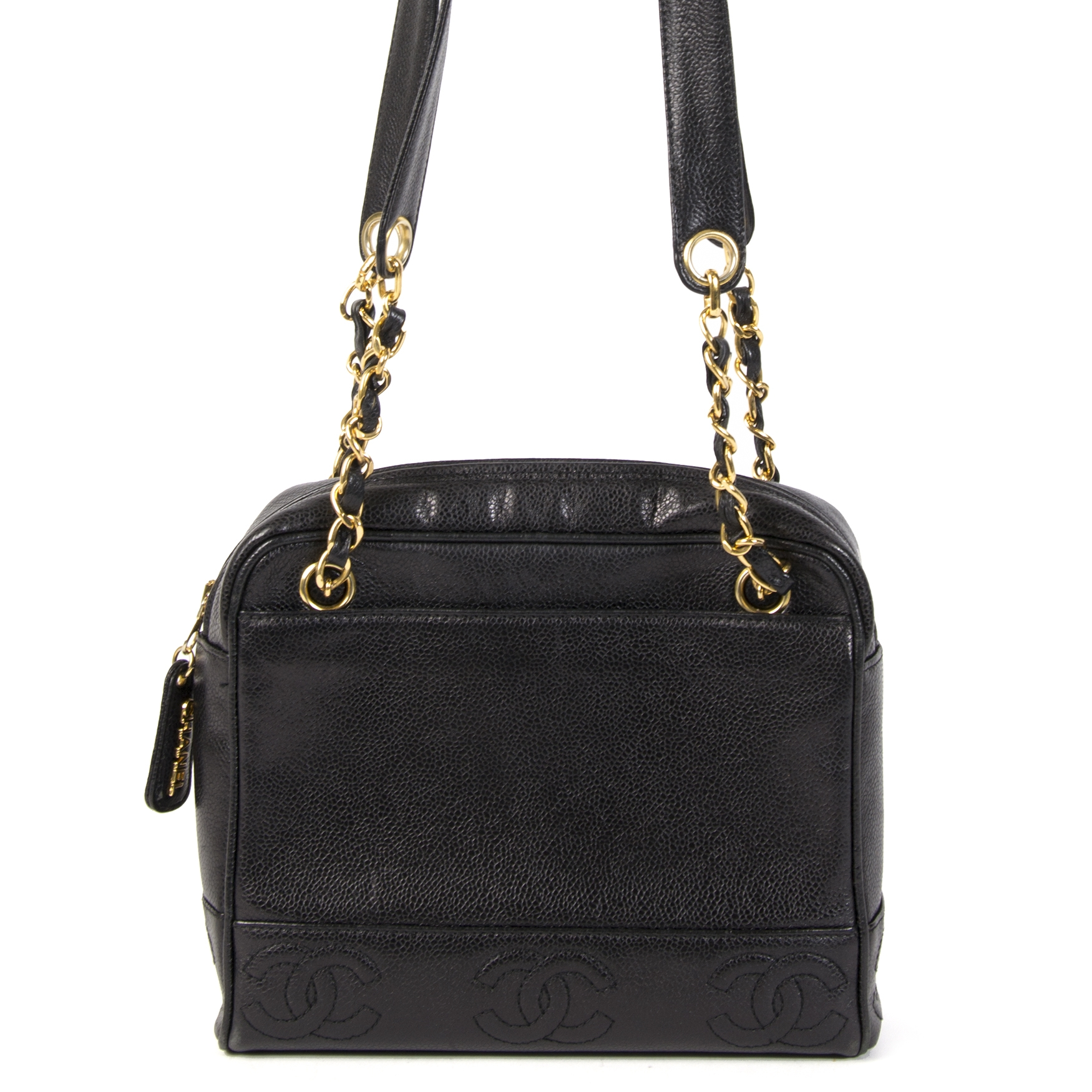Authentic second-hand vintage Chanel Black caviar CC Shoulder Bag buy online webshop LabelLOV