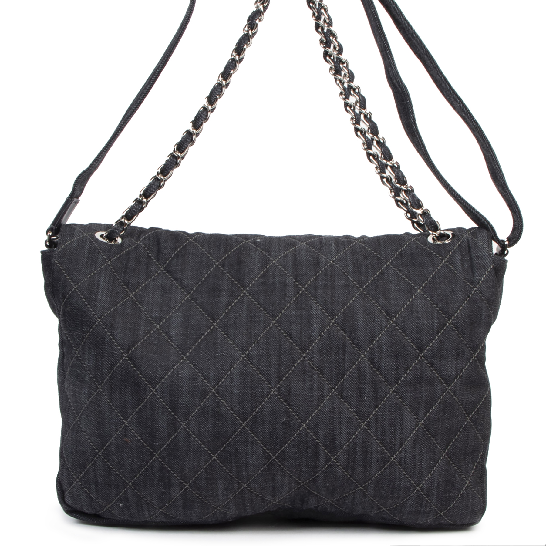 shop safe online Chanel Denim Quilted XL Classic Flap Shoulder Bag