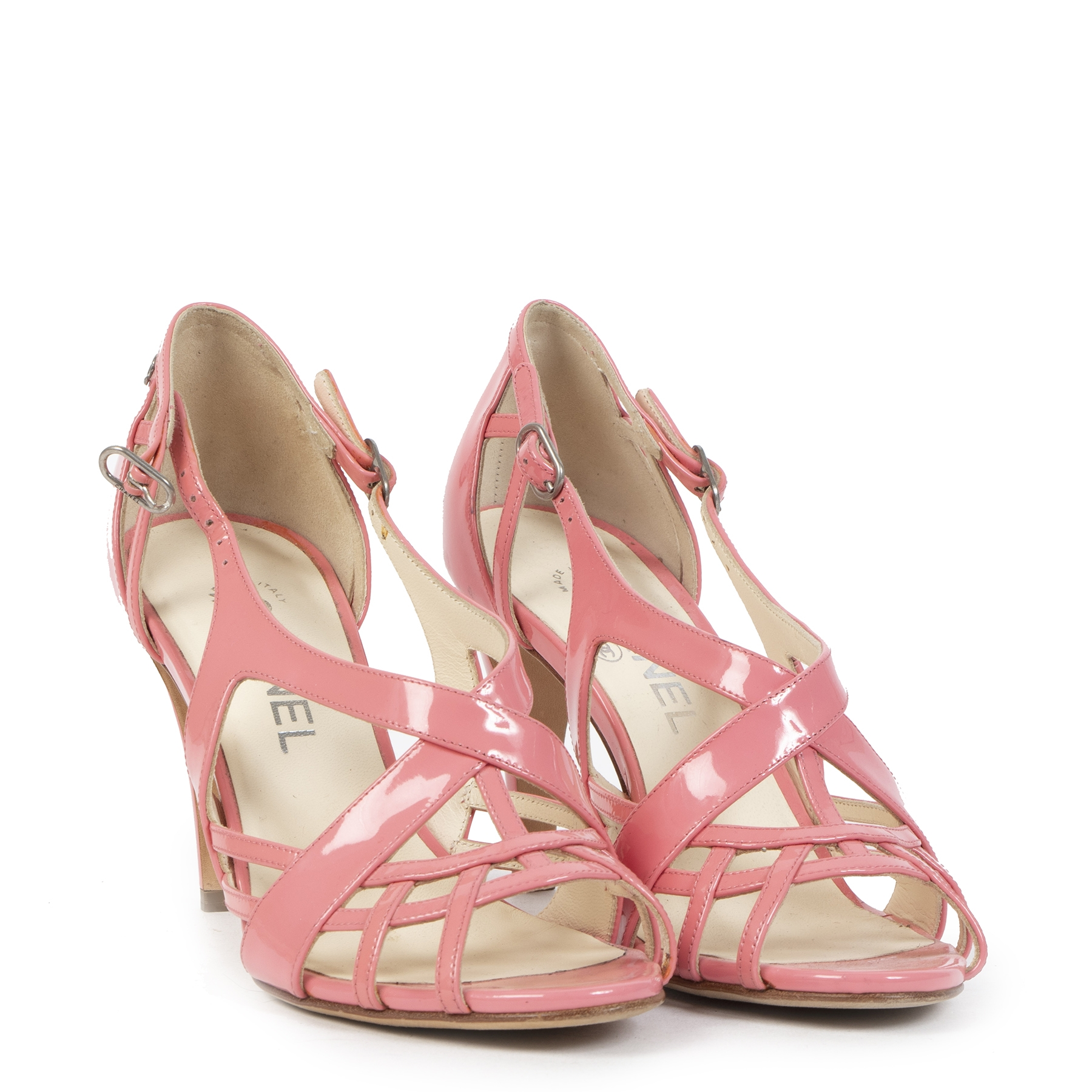 Authentic secondhand Chanel Pink Patent Leather Strappy Sandals - Size 37,5 designer shoes pumps high heels designer brands fashion luxury vintage webshop safe secure online shopping worldwide shipping delivery