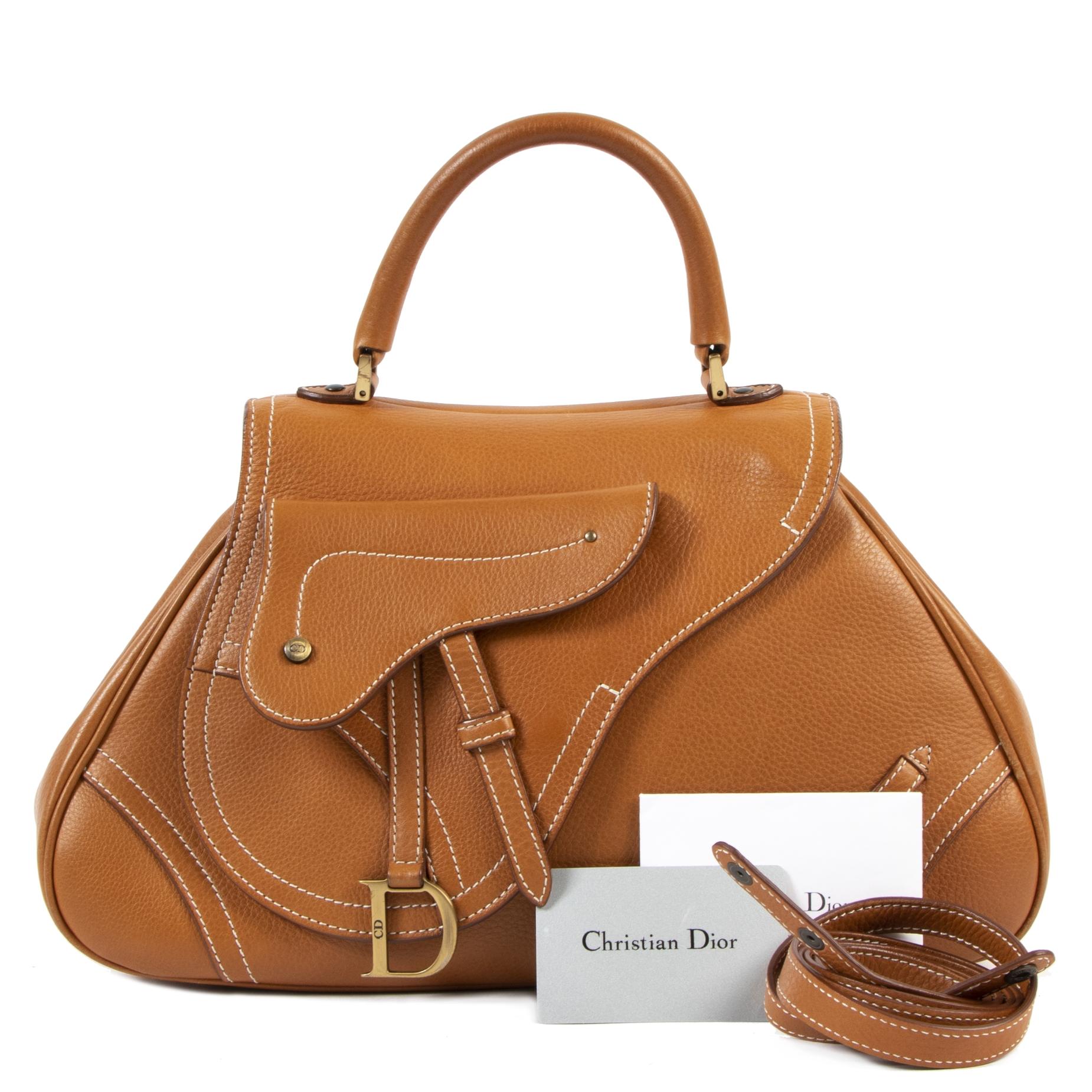Vintage designer Christian Dior Cognac Leather Saddle Messenger Bag for the best price