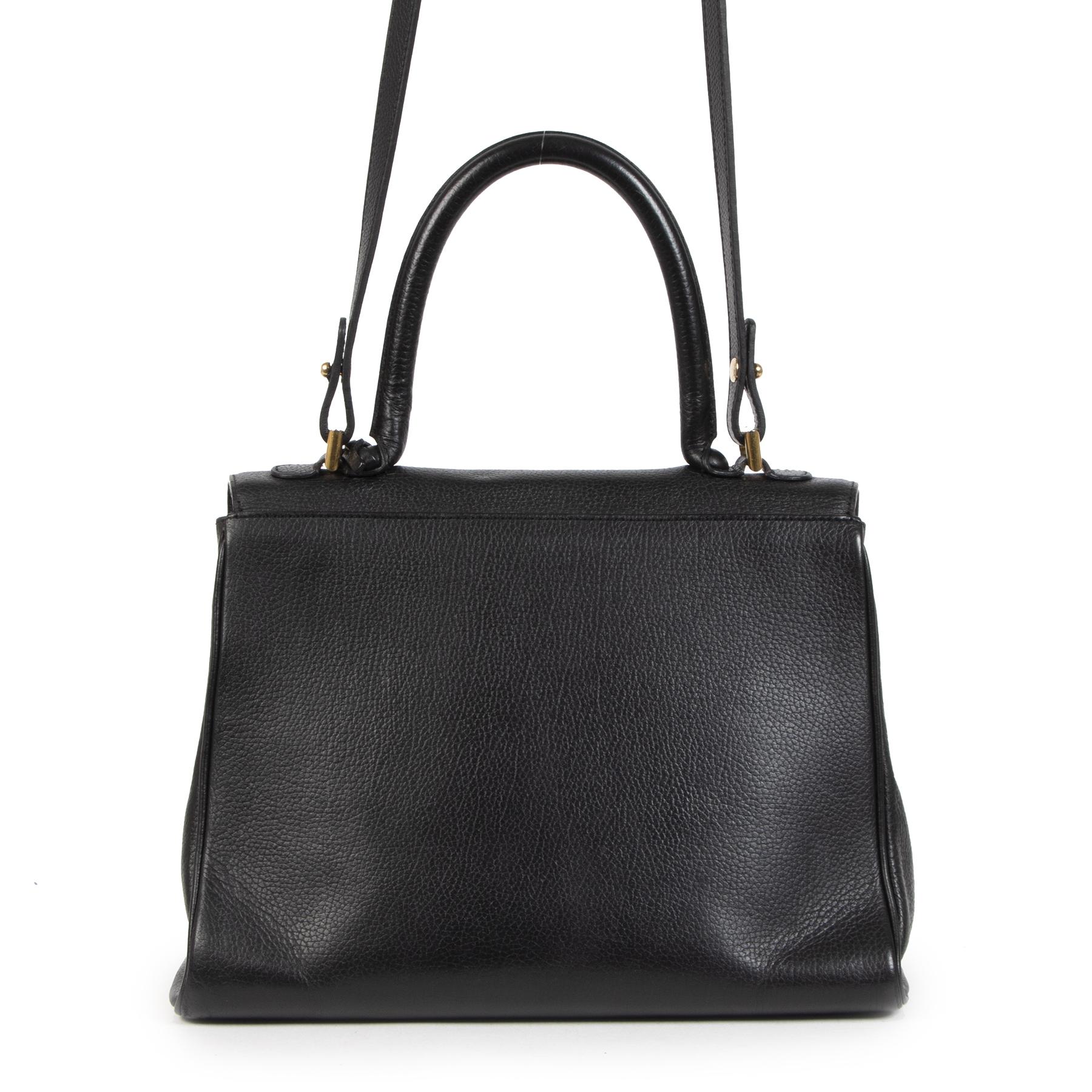 Authentieke Tweedehands Delvaux Brillant Black MM Bag + Strap juiste prijs veilig online shoppen luxe merken webshop winkelen Antwerpen België mode fashion