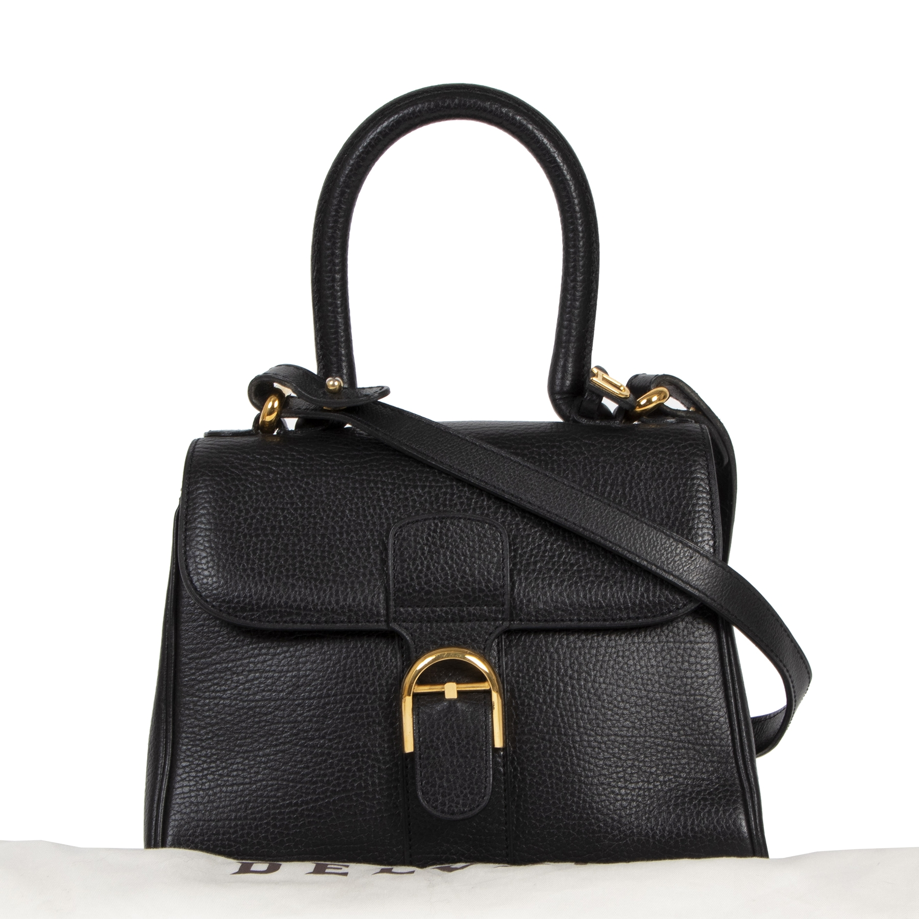 Authentieke tweedehands vintage Delvaux Black Mini Brillant Bag koop online webshop LabelLOV