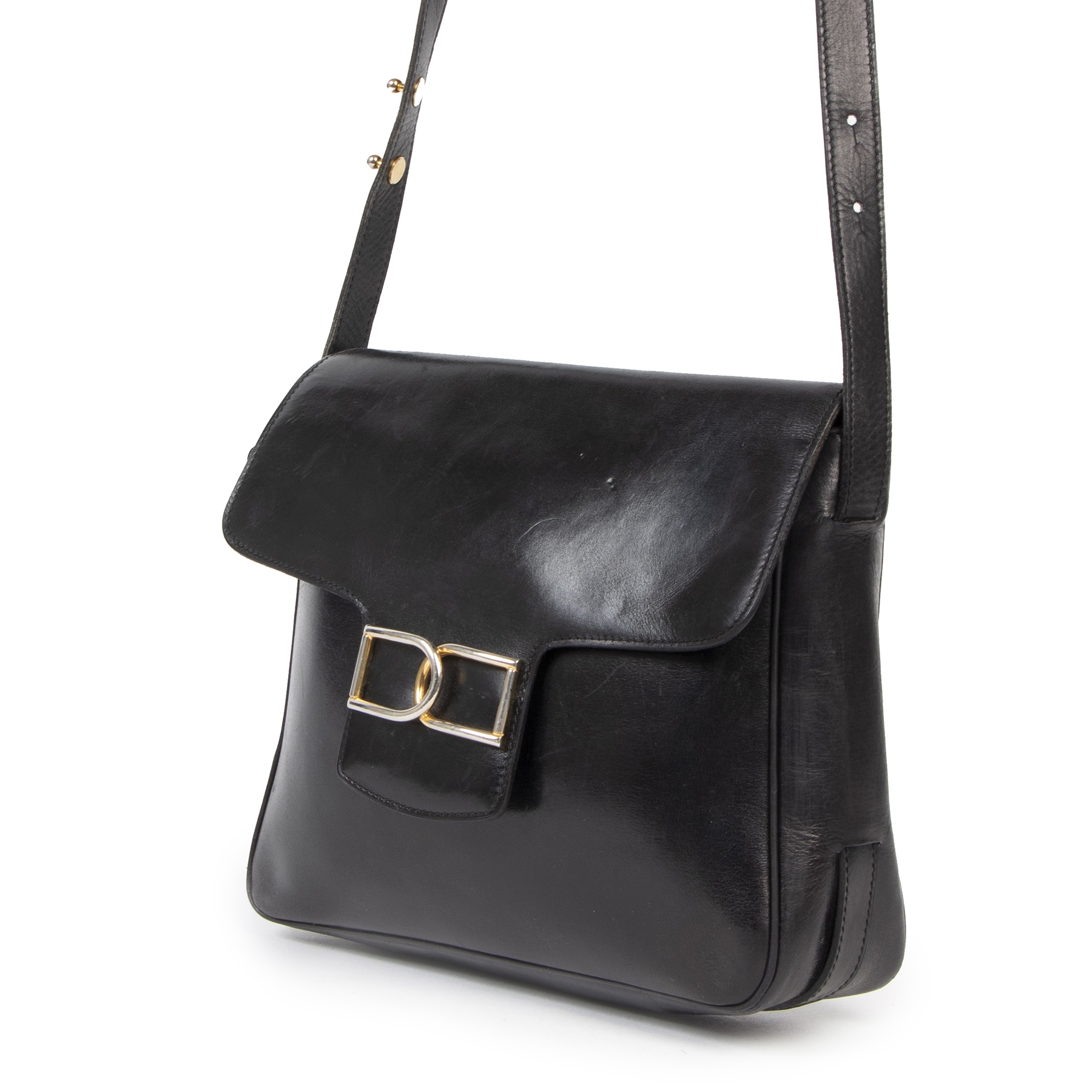 We buy and sell your authntic designer Delvaux Black Smooth Leather Box Bag for the best price online