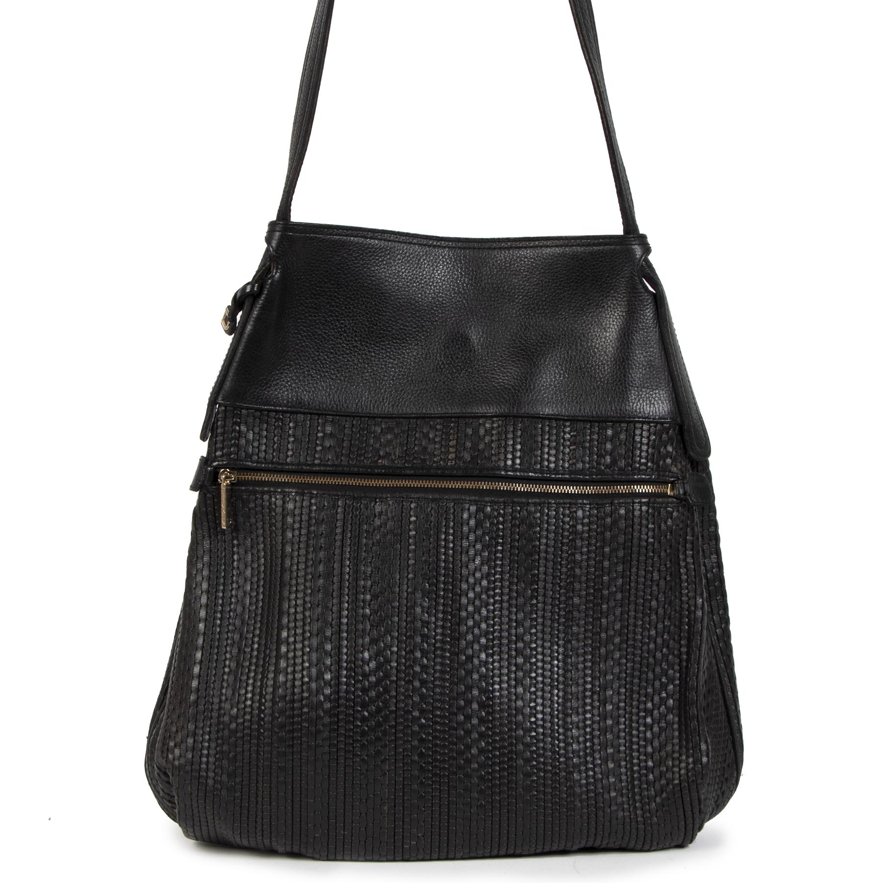 Authentic secondhand Delvaux Blue Toile De Cuir Faust Bag designer bags designer brands fashion luxury vintage webshop safe secure online shopping worldwide shipping delivery