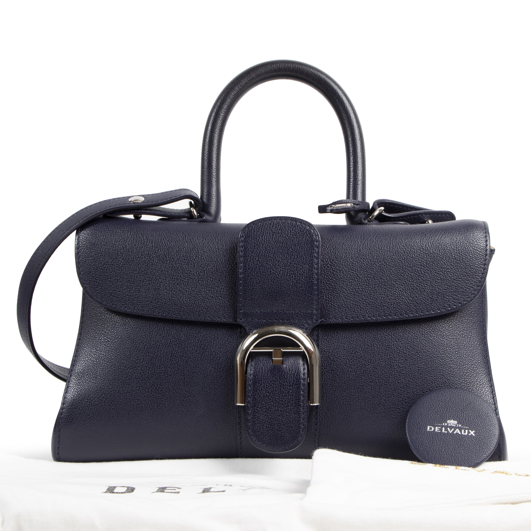 Delvaux Blue Leather East West Brillant Bag