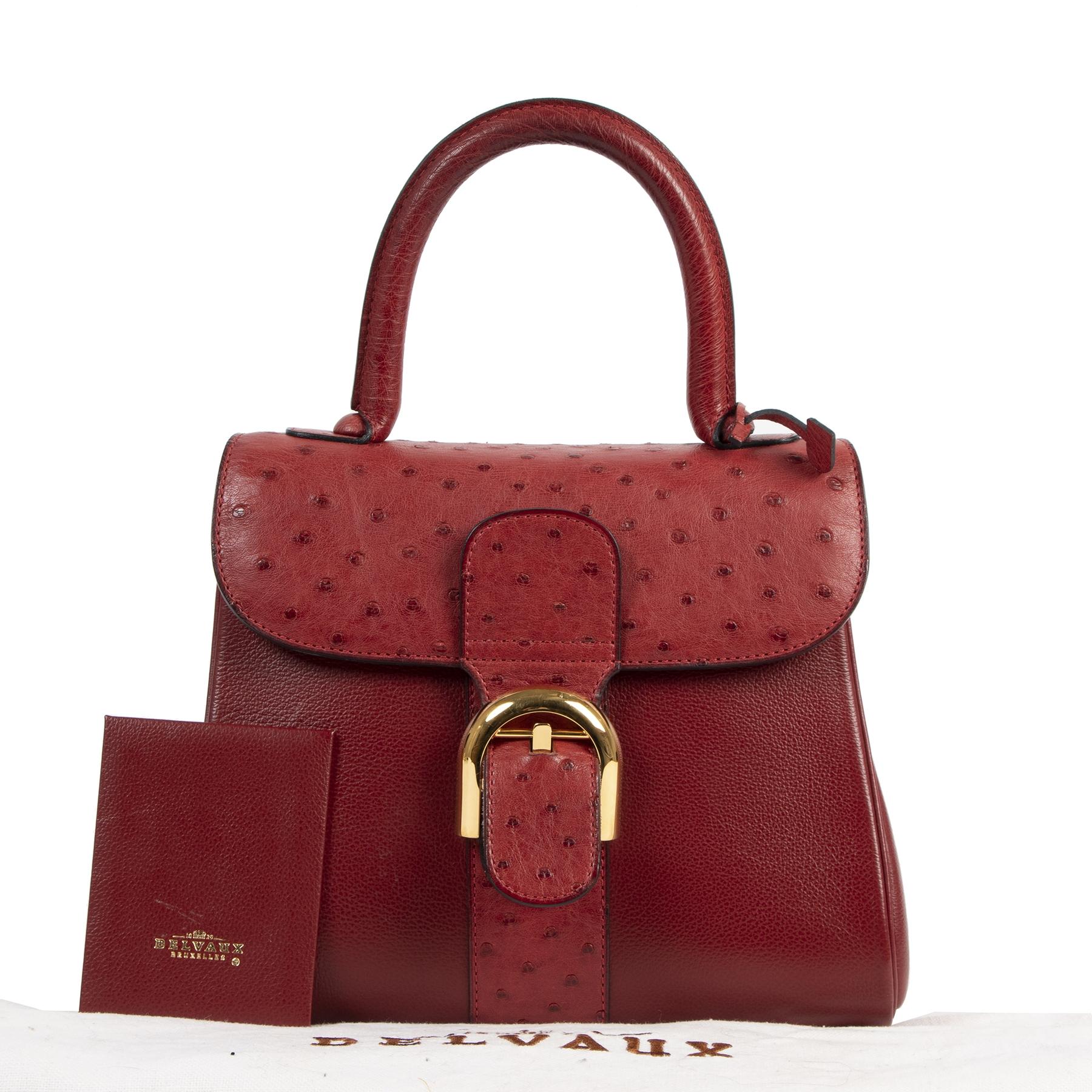 koop online tegen de beste prijs Delvaux Bordeaux Ostrich Brillant PM  Shoulder Bag