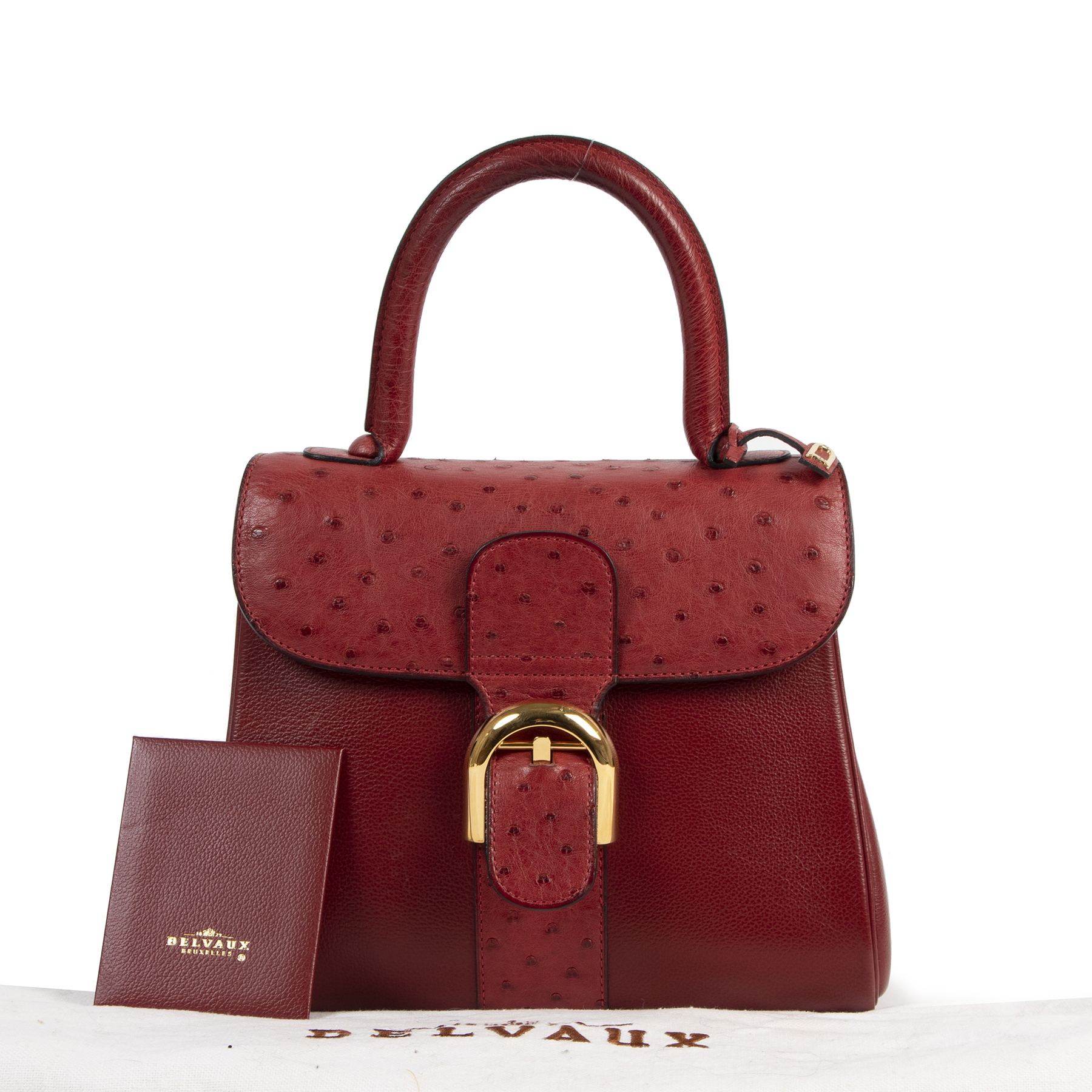 Delvaux Bordeaux Ostrich Brillant PM  Shoulder Bag