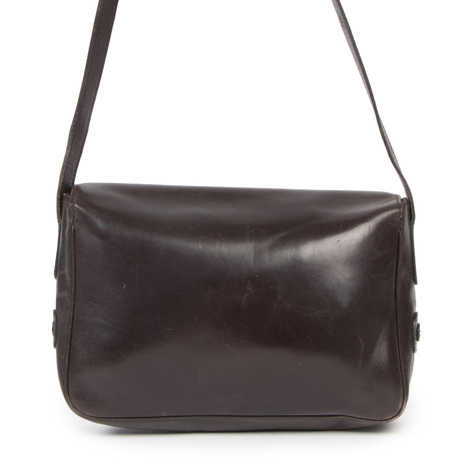 Delvaux Brown Vintage DD Bag op tweedehands designer handtassen en accessoires