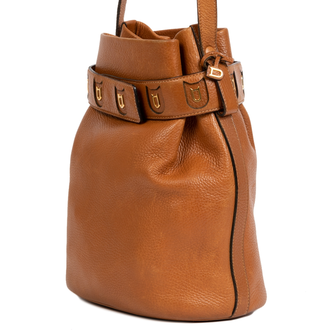 We buy and sell your authentic Delvaux Cognac Leather Calicot Bucket Bag