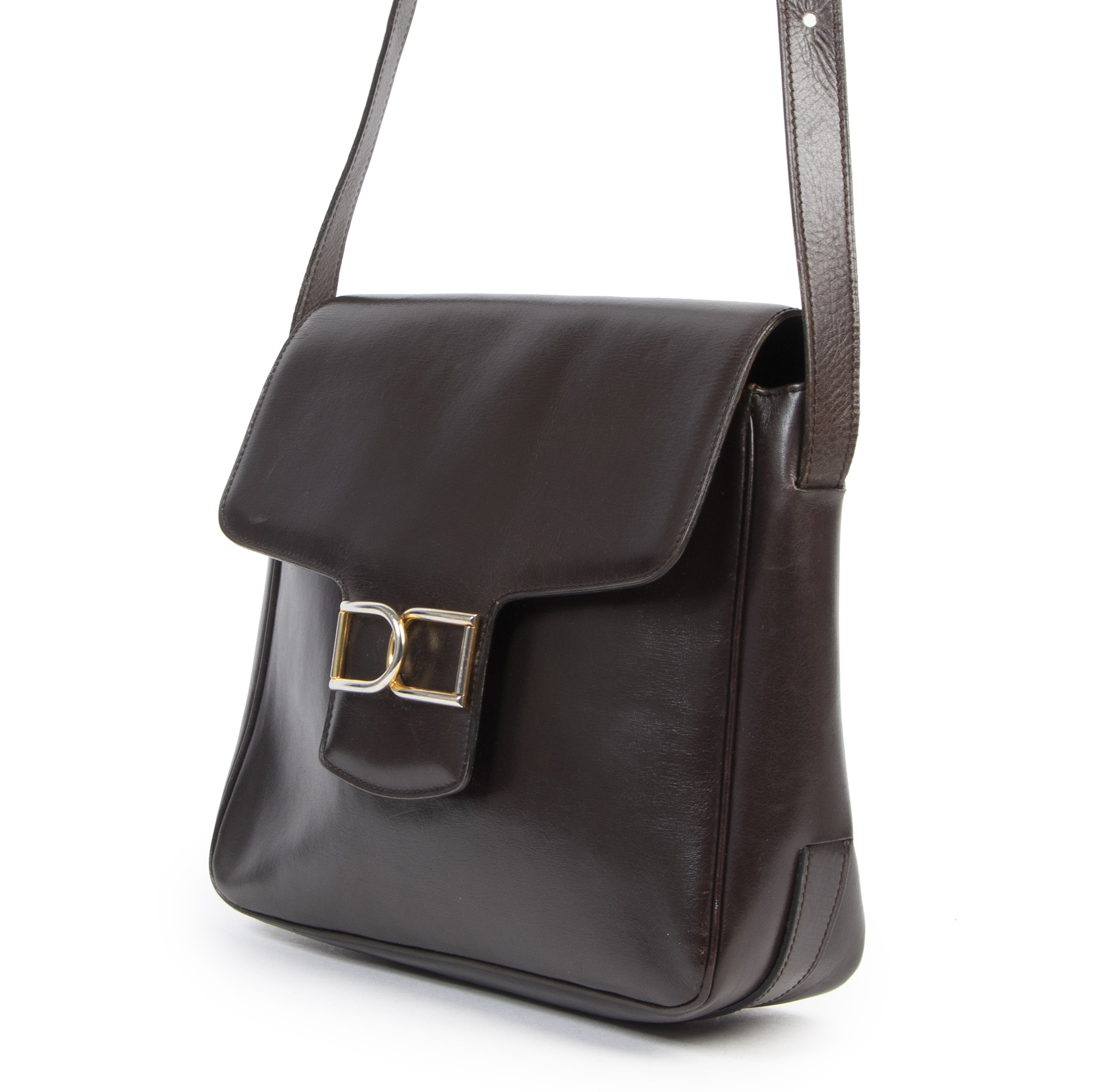 Delvaux Brown Smooth Leather Box Bag pour le meilleur prix