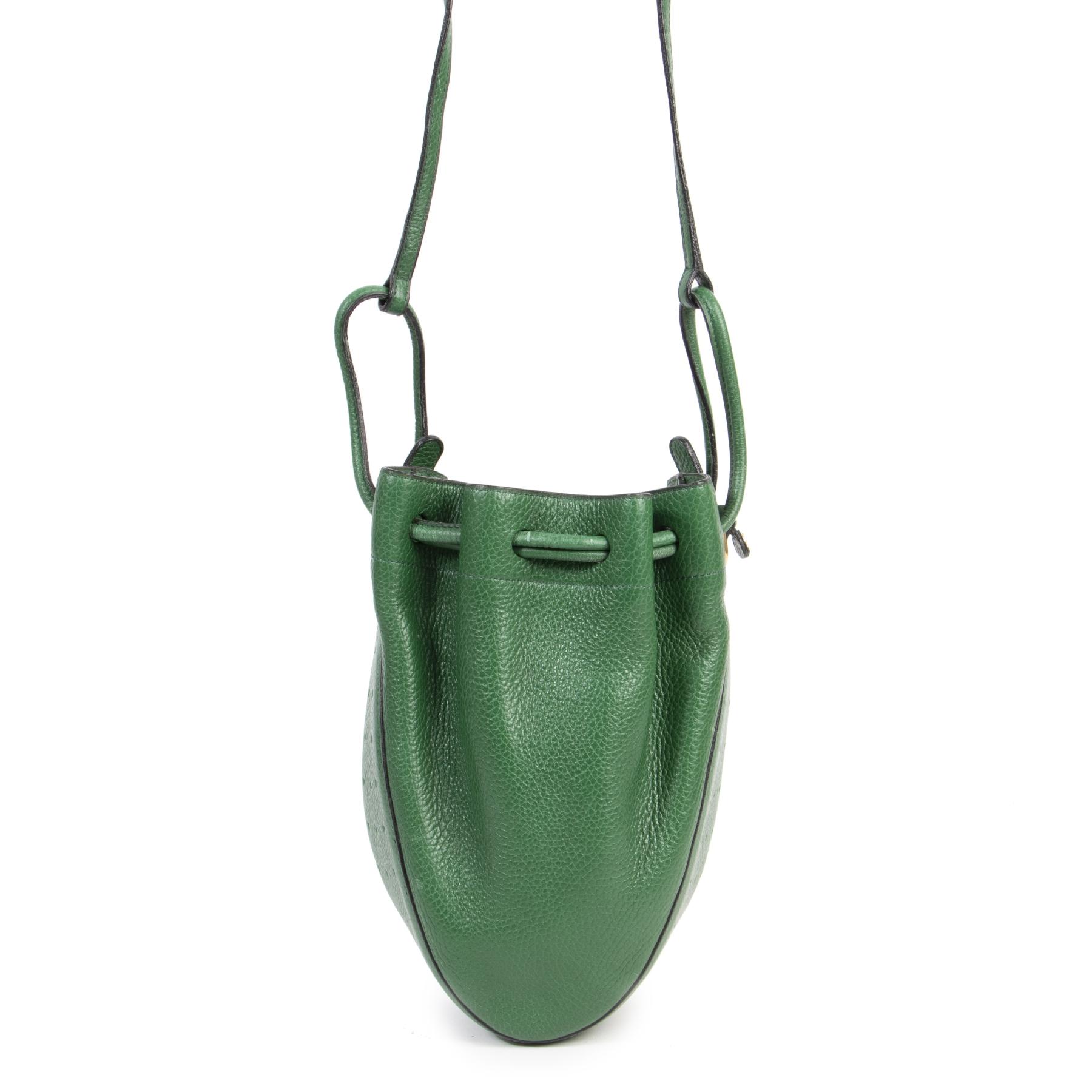 Authentieke Tweedehands Delvaux Green Leather Bucket Bag juiste prijs veilig online shoppen luxe merken webshop winkelen Antwerpen België mode fashion