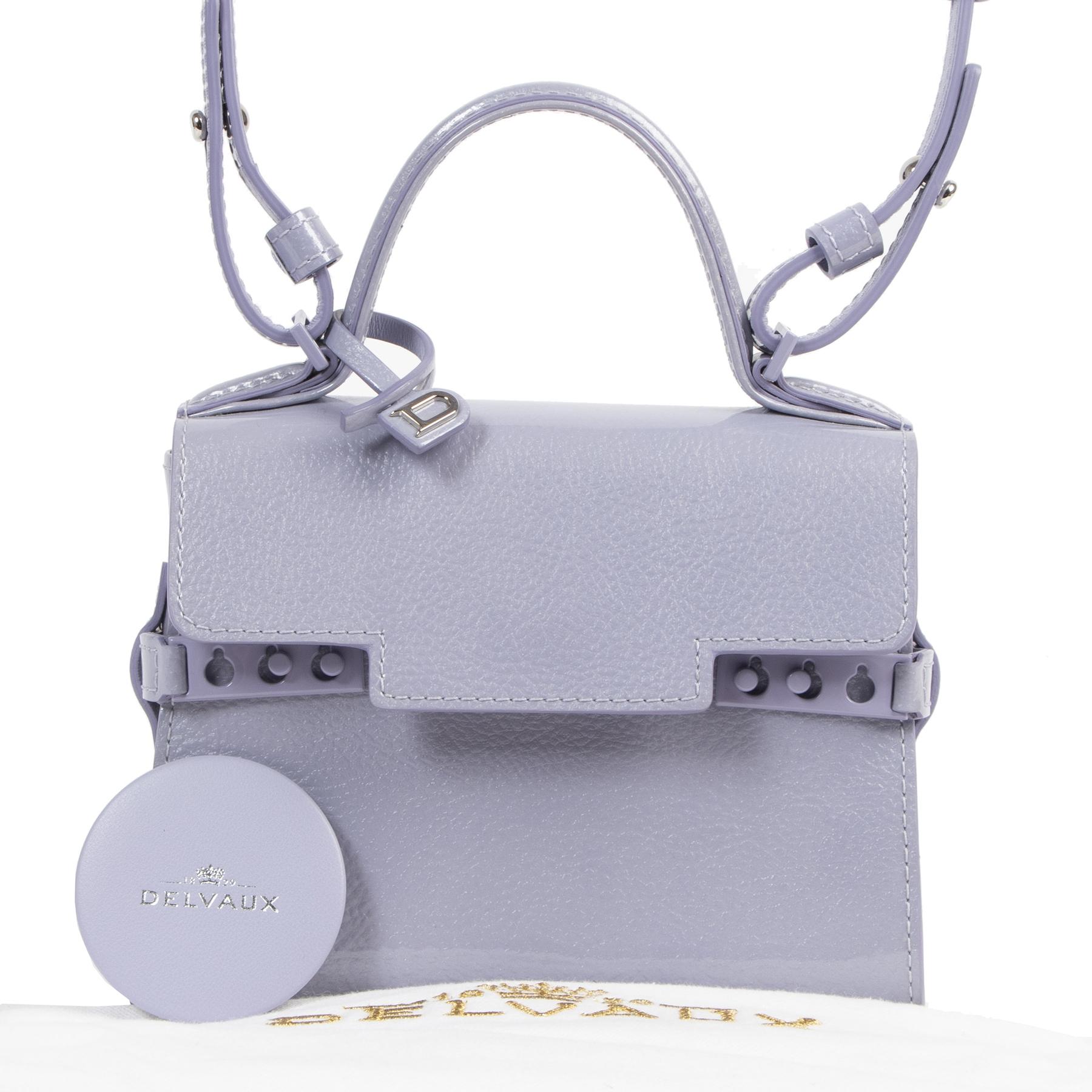 shop safe online acheter en ligne seconde main Delvaux Tempête Lilac Micro Crossbody Bag