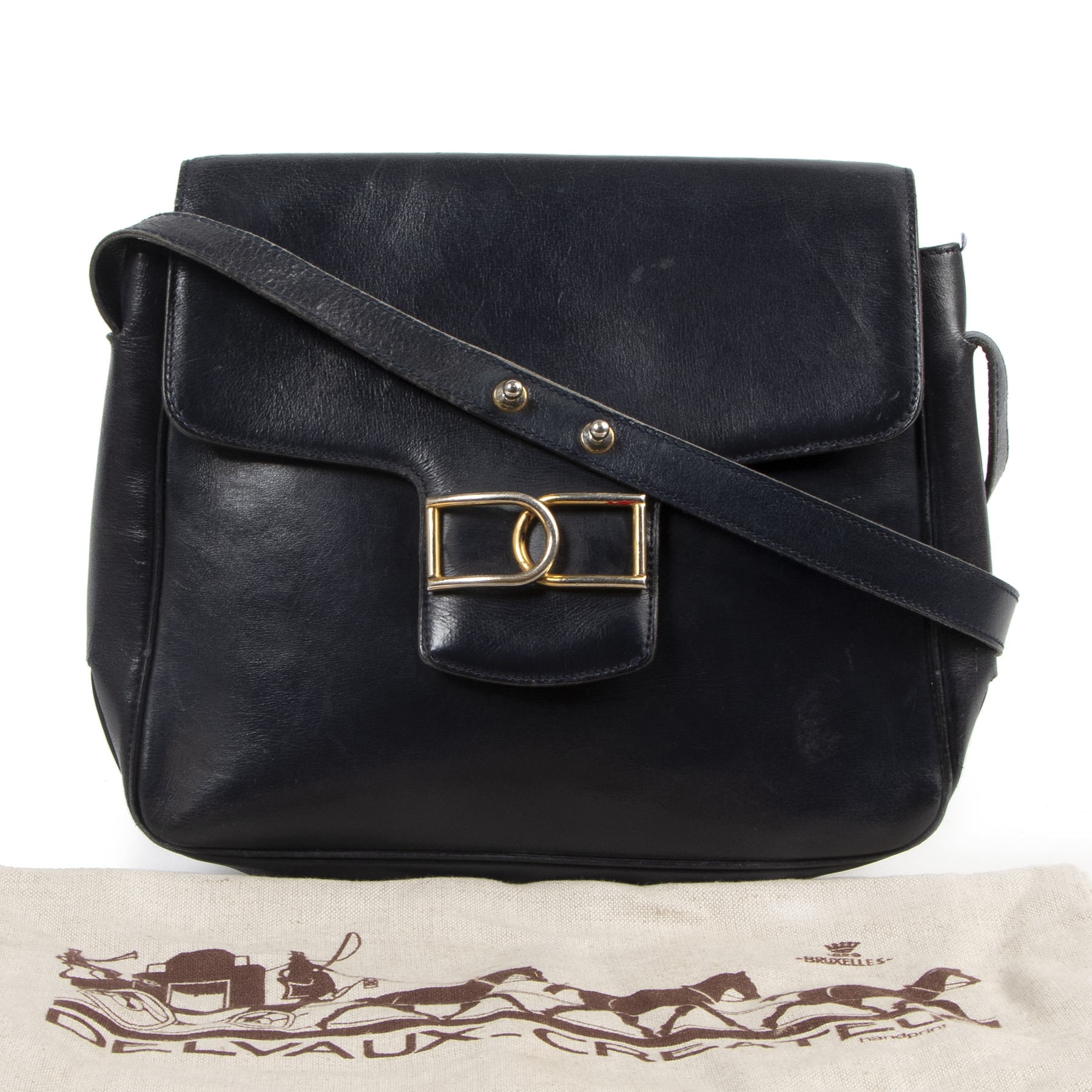 Authentieke tweedehands vintage Delvaux Navy DD Crossbody Bag koop online webshop LabelLOV