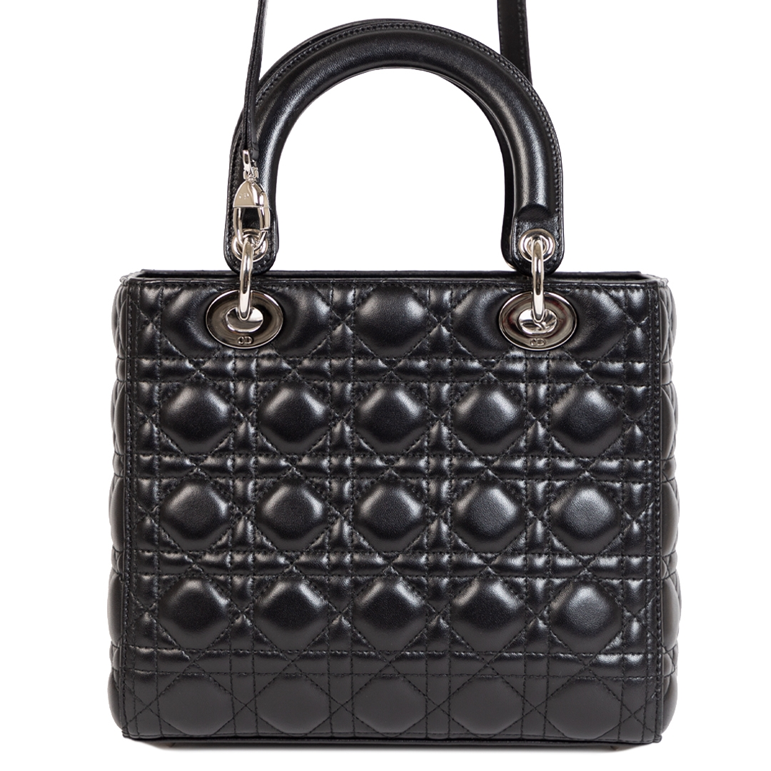 Christian Dior Lady Dior Black Calfskin Leather Bag for sale online at Labellov secondhand luxury