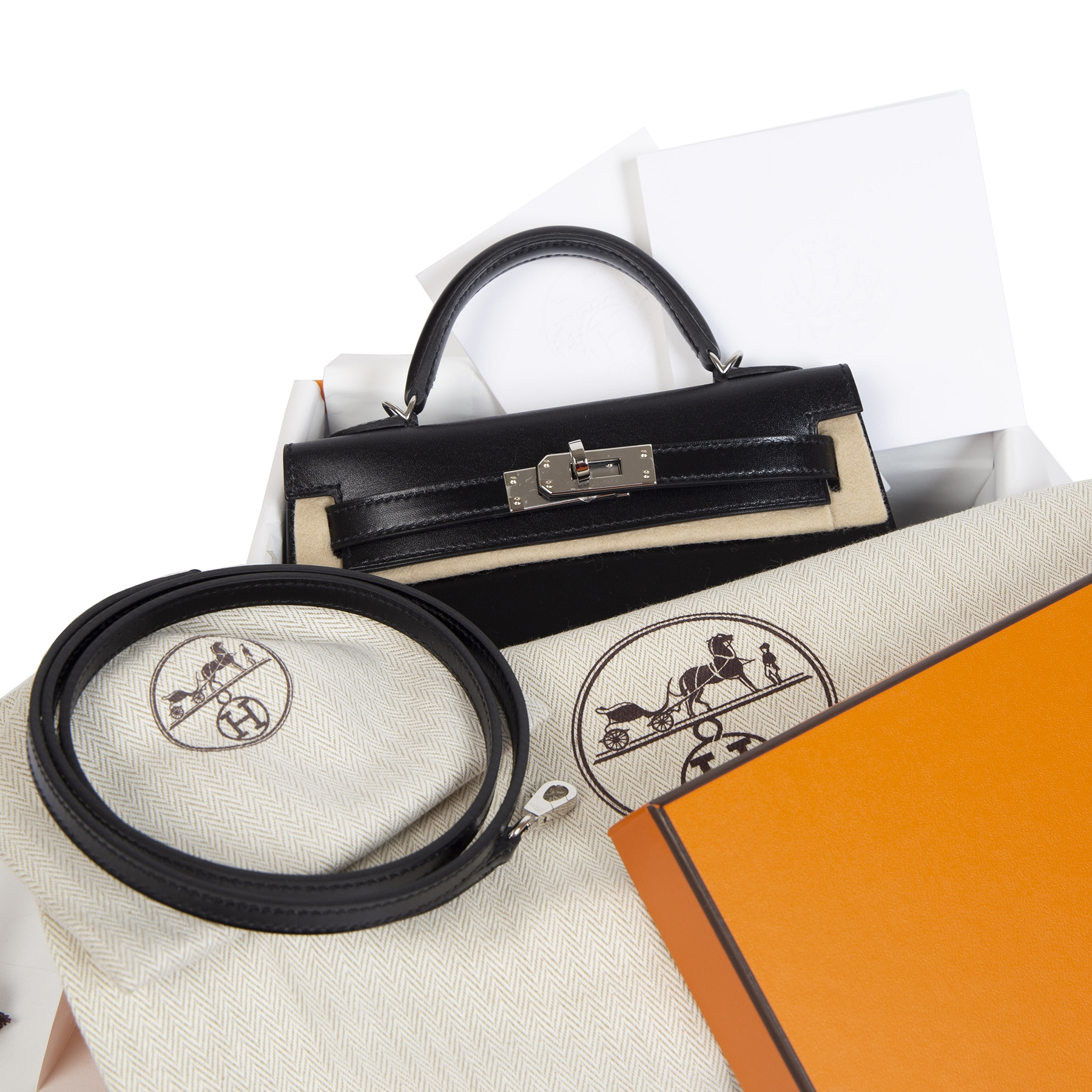 We buy and sell your authentic designer bags online Hermès Kelly II Mini Black Box Calf PHW
