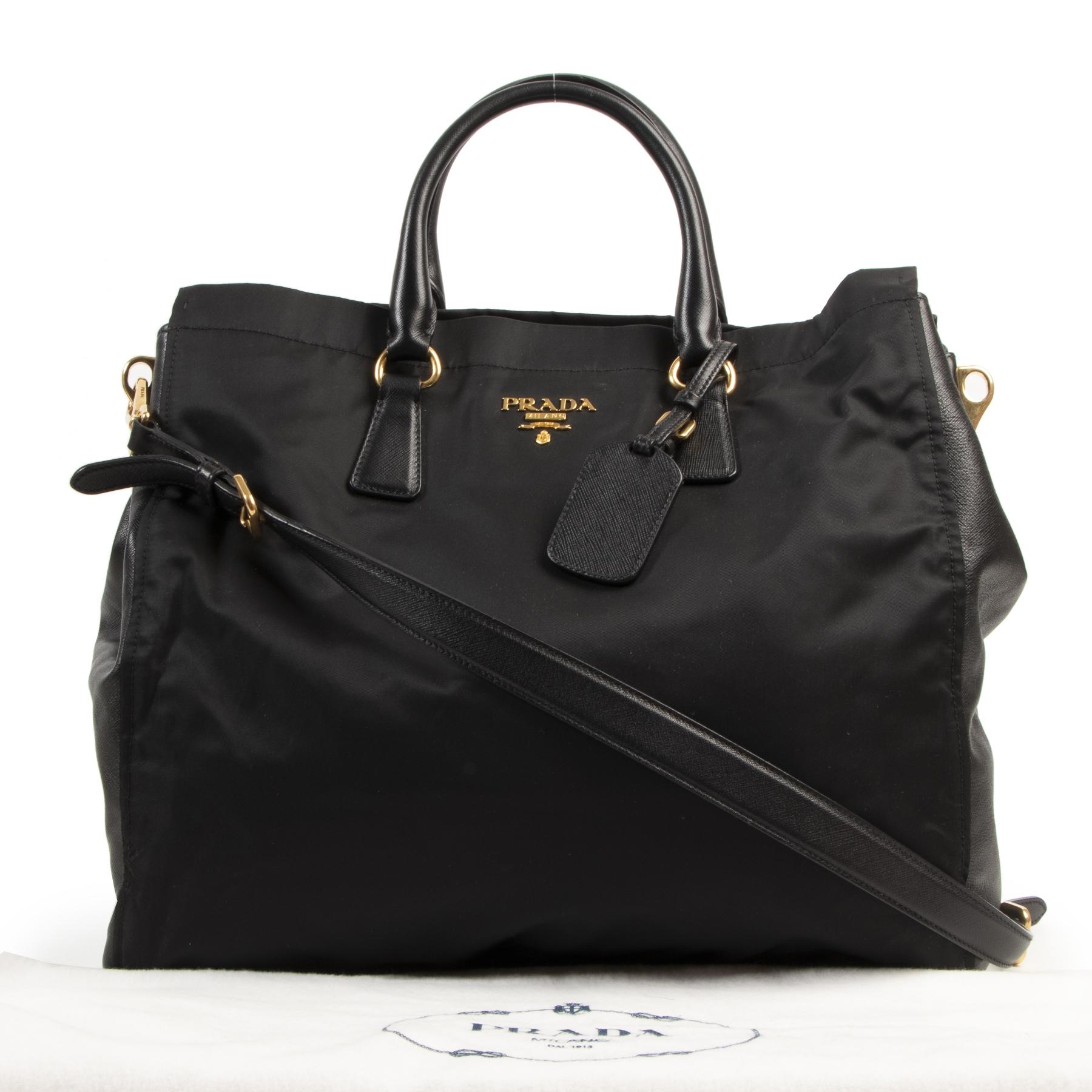 Prada Nylon Saffiano Leather Tote Shopper kopen en verkopen aan de beste prijs