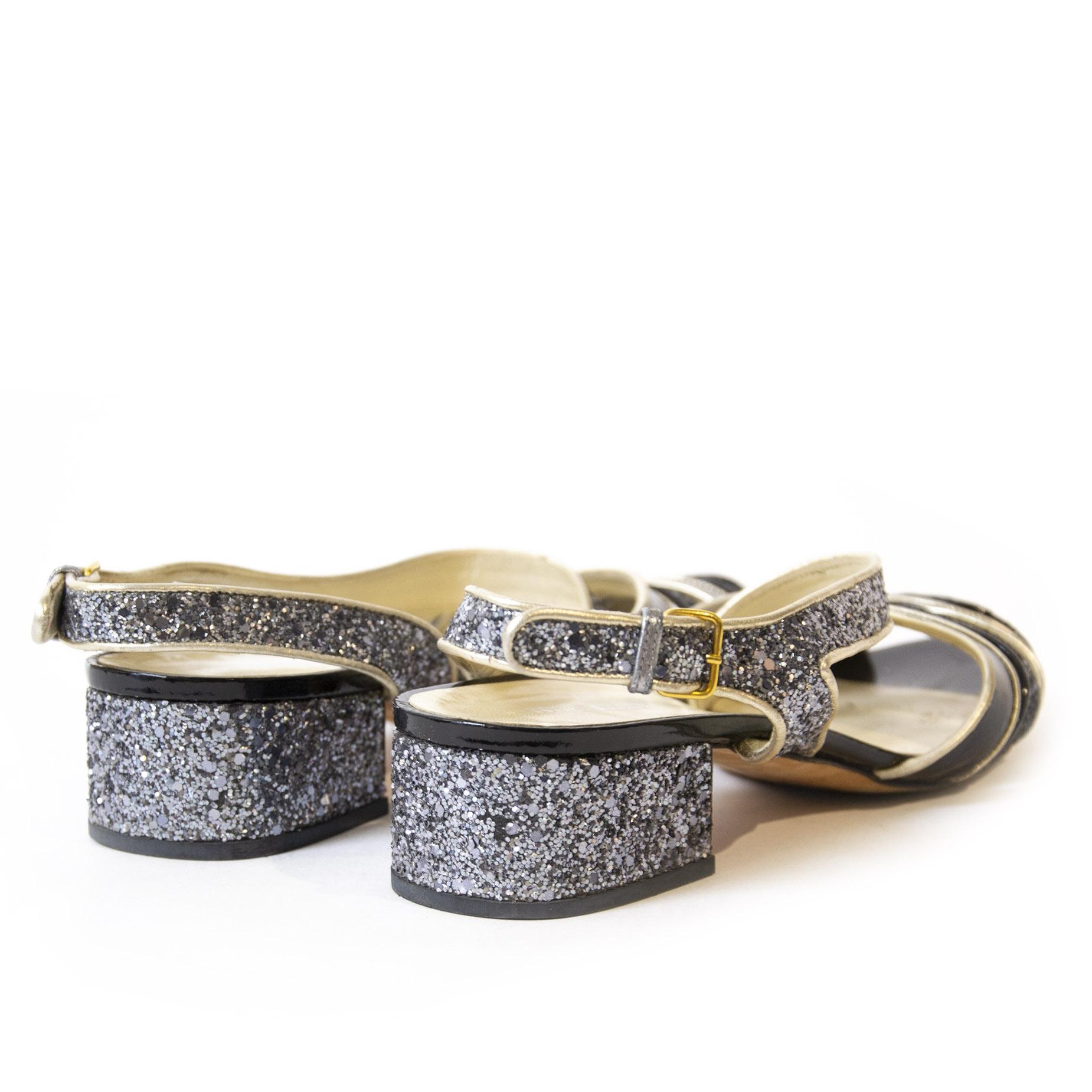Miu Miu Glitter Sandal Heels