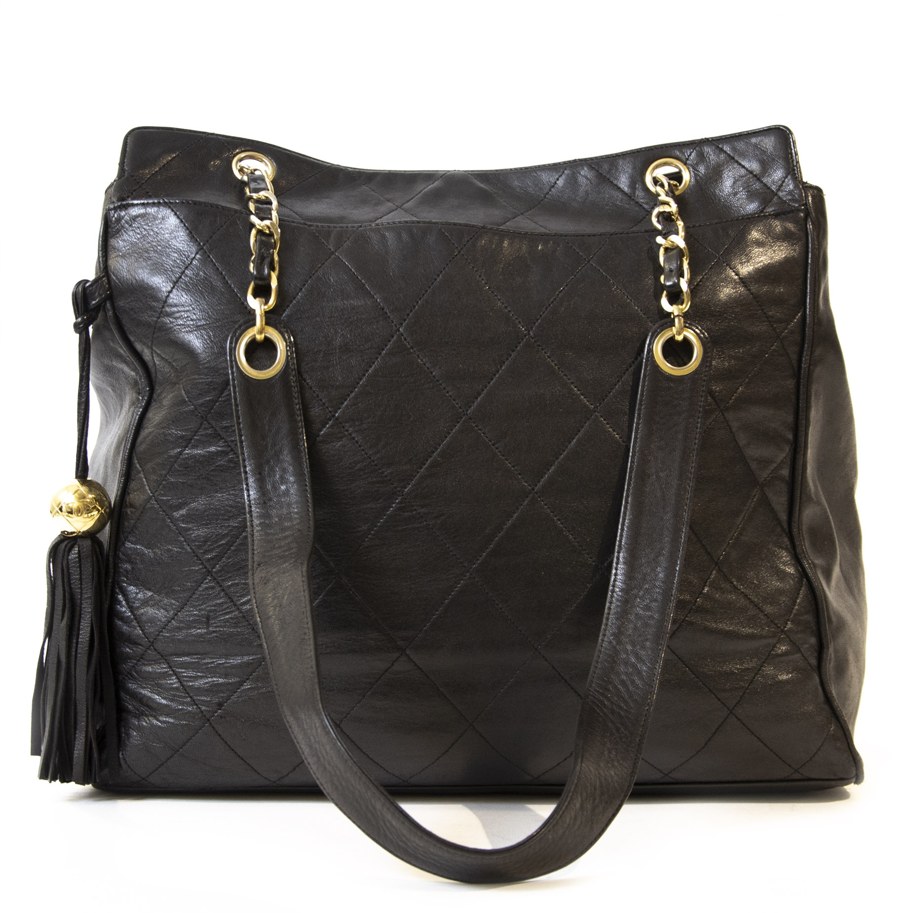 Chanel Vintage Quilted Black Tote Bag