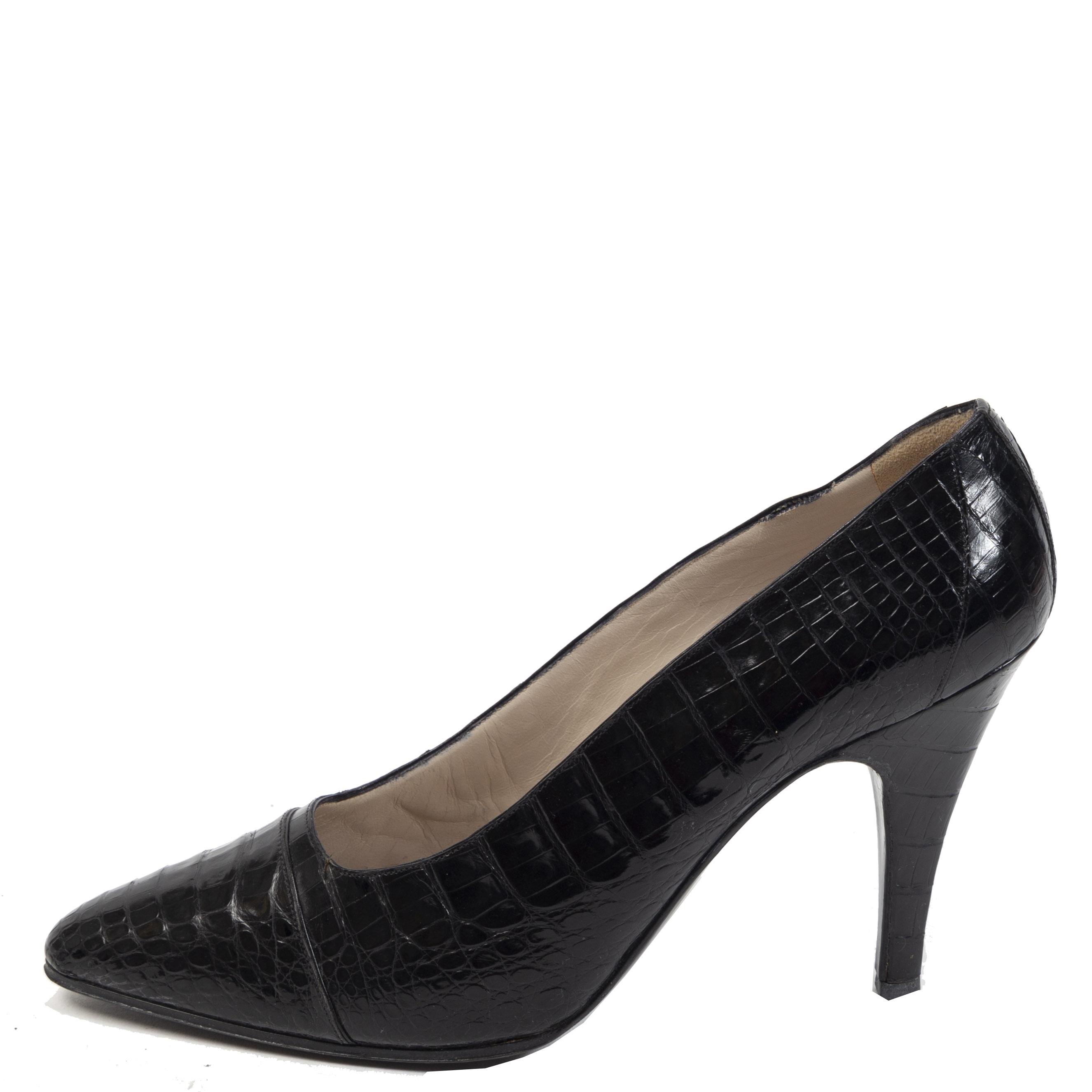 Authentieke Tweedehands Chanel Black Croco Cap Toe Pumps juiste prijs veilig online shoppen luxe merken webshop winkelen Antwerpen België mode fashion
