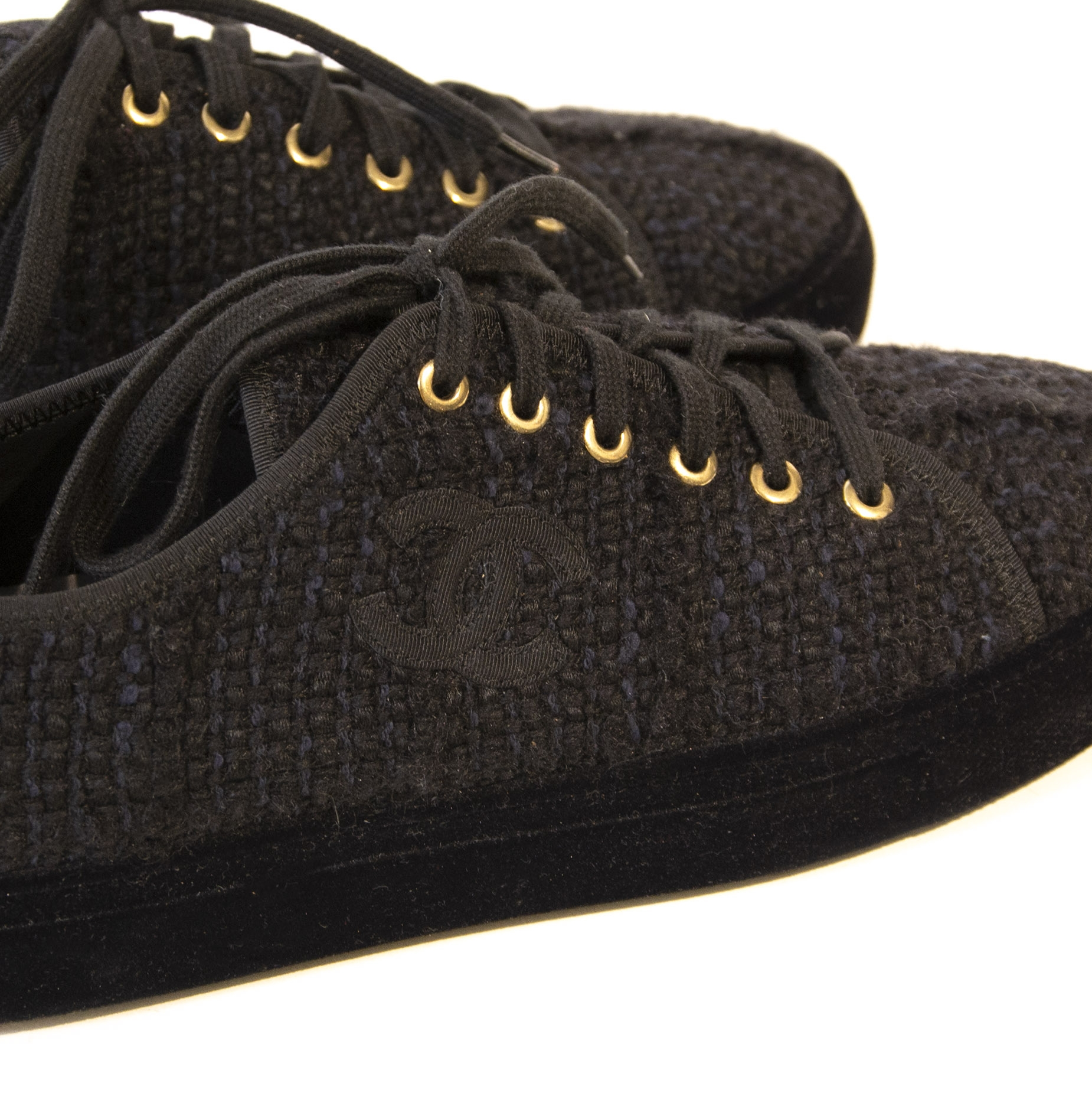 Chanel Black Tweed Sneakers - Size 39,5