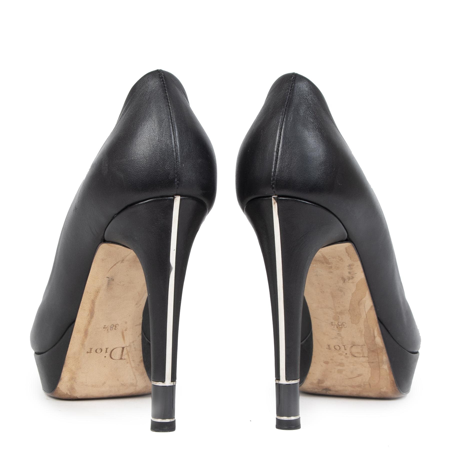 Authentieke tweedehands vintage Dior Black Hermitage Platform Heels koop online webshop LabelLOV