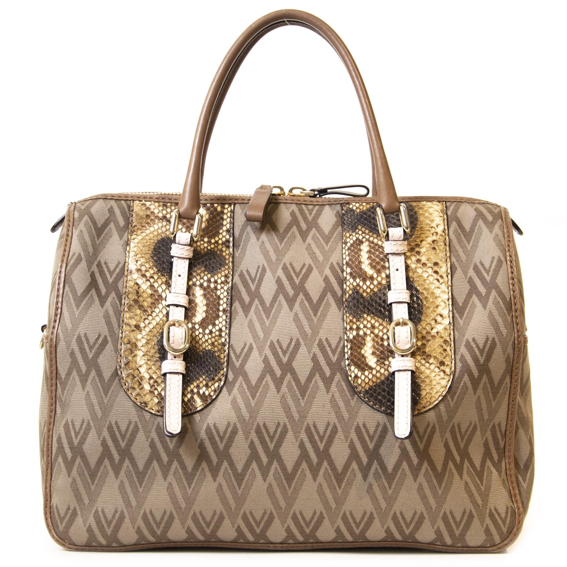 Authentieke Tweedehands Valentino Monogram Python Top Handle Bag juiste prijs veilig online shoppen luxe merken webshop winkelen Antwerpen België mode fashion