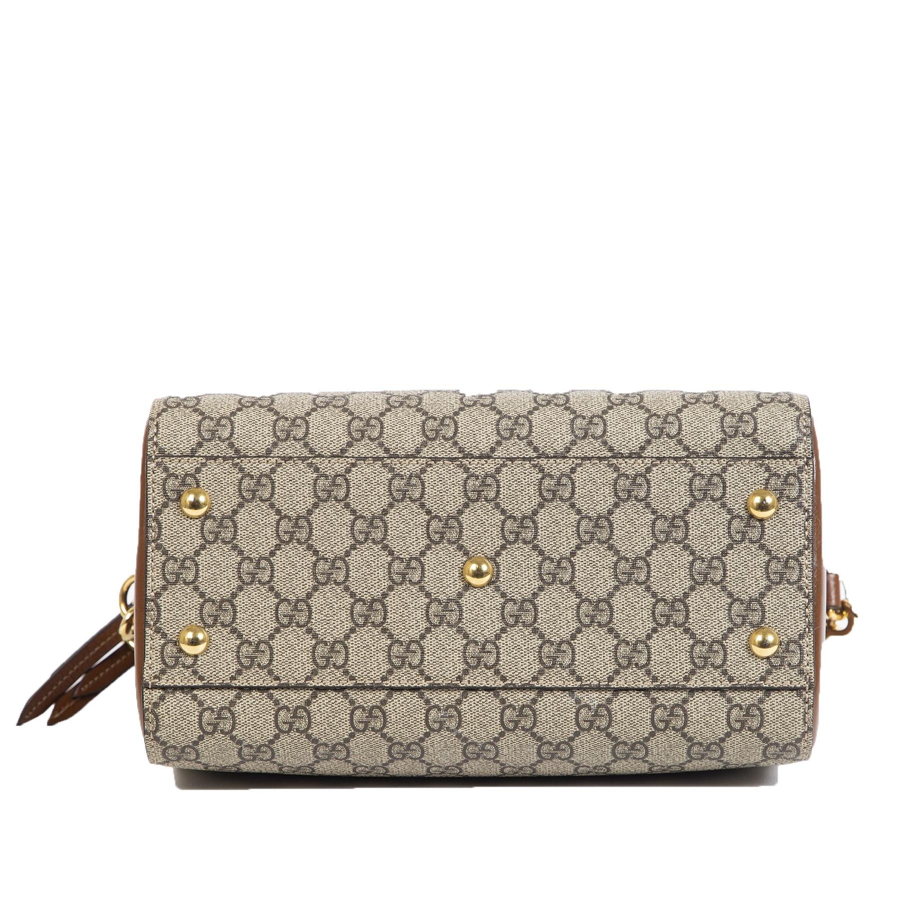 Gucci Small GG Supreme Boston Brown Bag