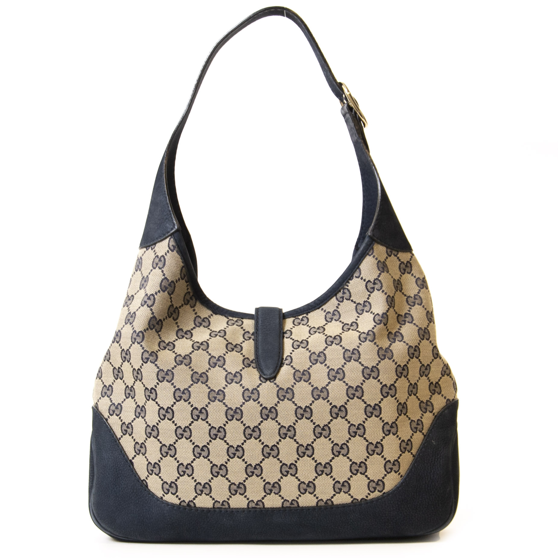 Authentieke Tweedehands Gucci Monogram Jackie O Hobo Bag juiste prijs veilig online shoppen luxe merken webshop winkelen Antwerpen België mode fashion