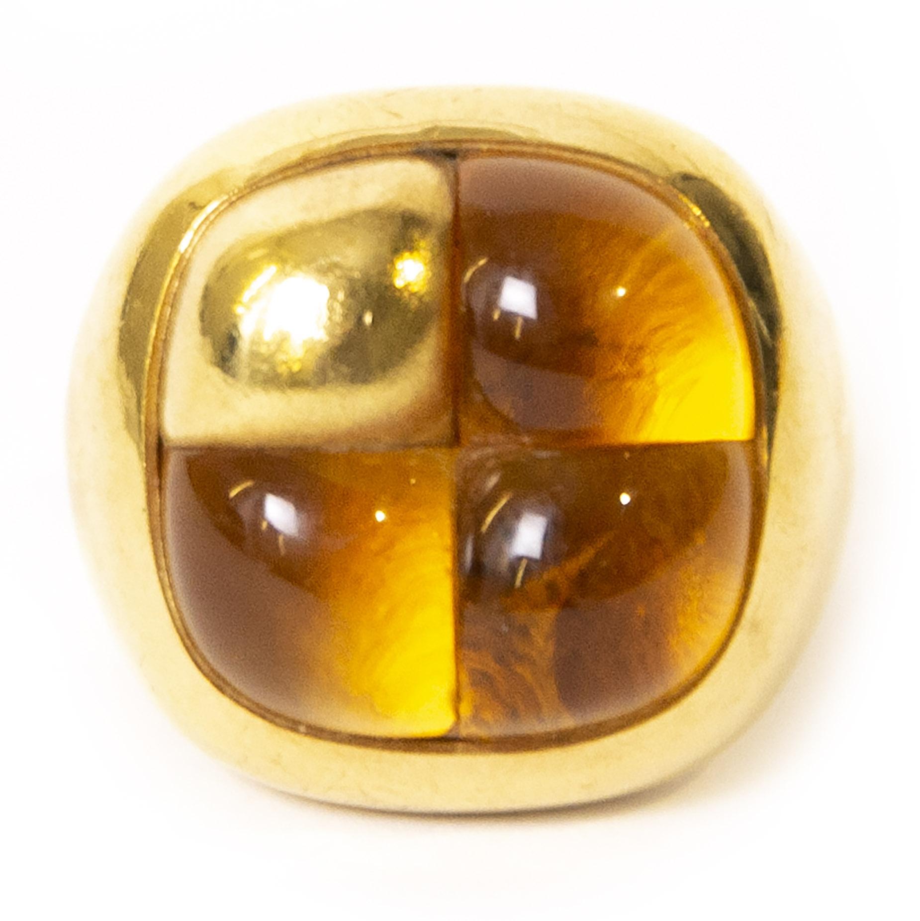 Authentieke Tweedehands Pomellato Mosaique Ring Yellow Gold and Citrine juiste prijs veilig online shoppen webshop luxe merken winkelen Antwerpen België mode fashion