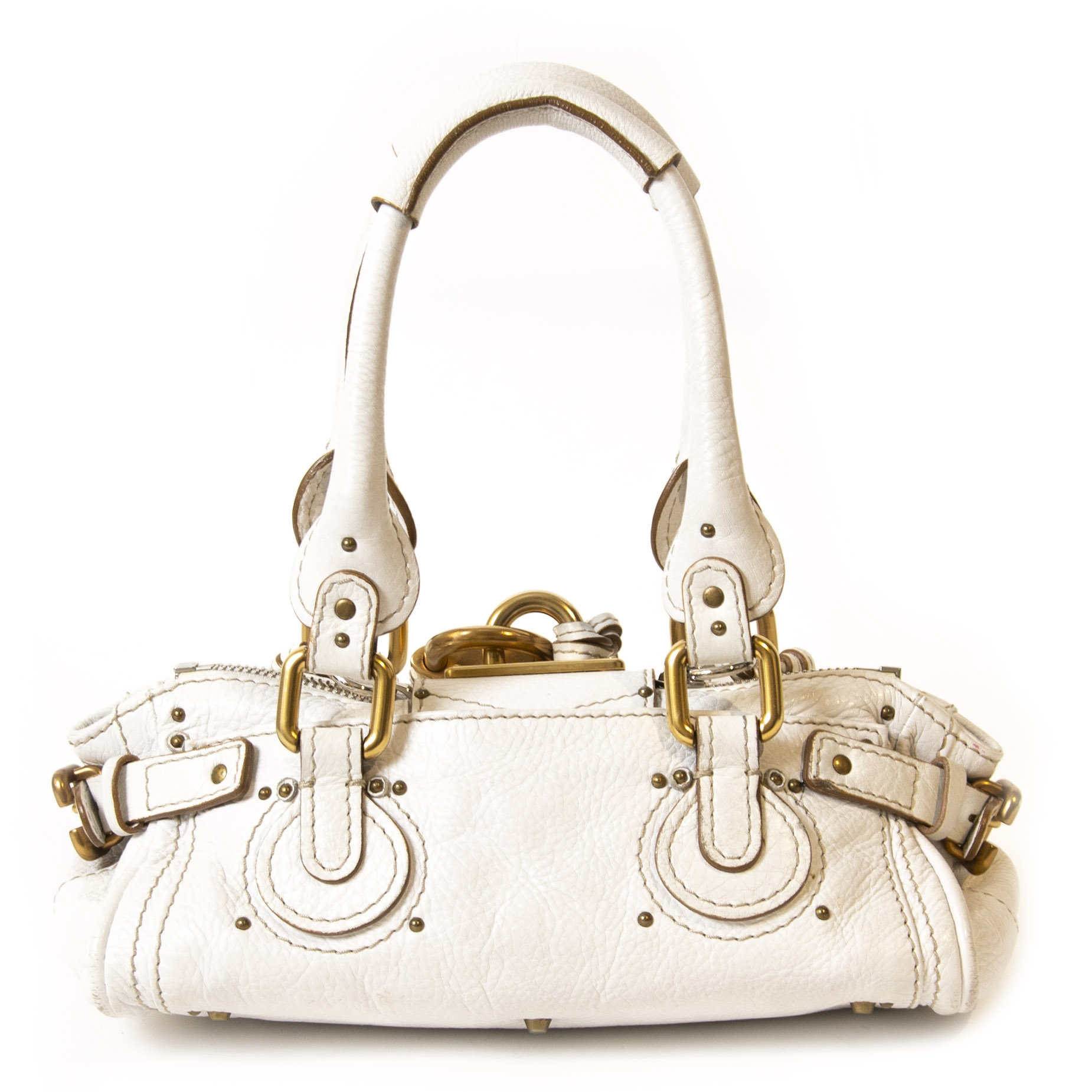 Authentieke Tweedehands Chloé White Leather Paddington Mini Bag juiste prijs veilig online shoppen luxe merken webshop winkelen Antwerpen België mode fashion