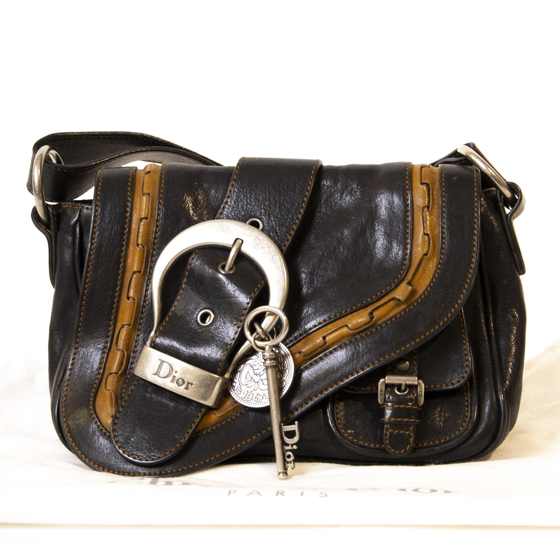 Authentieke Tweedehands Dior Gaucho Mini Saddle Bag juiste prijs veilig online shoppen luxe merken webshop winkelen Antwerpen België mode fashion