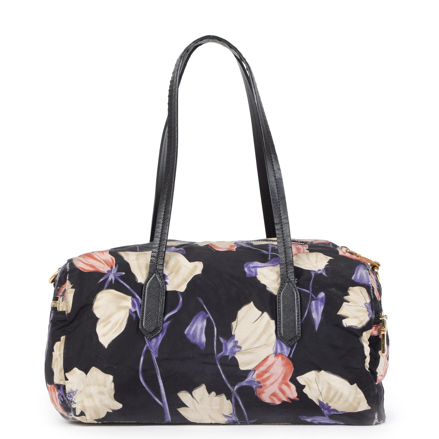 Authentieke tweedehands Prada Floral Nylon Shoulder Bag juiste prijs veilig online shoppen luxe merken webshop winkelen Antwerpen België mode fashion