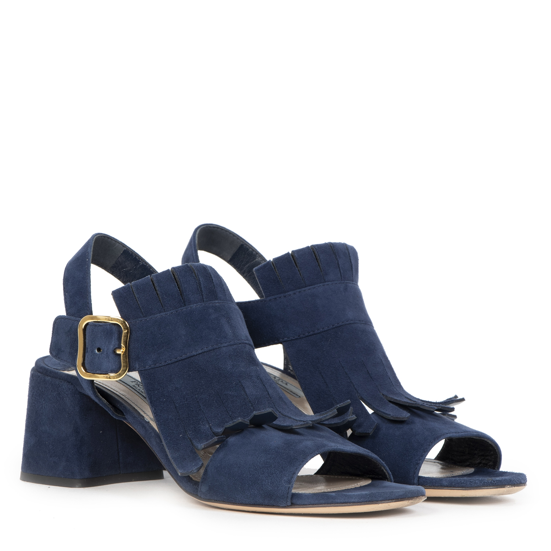 Authentieke Tweedehands Prada Navy Suede Fringe Heeled Sandal - Size 37,5 juiste prijs veilig online shoppen luxe merken webshop winkelen Antwerpen België mode fashion