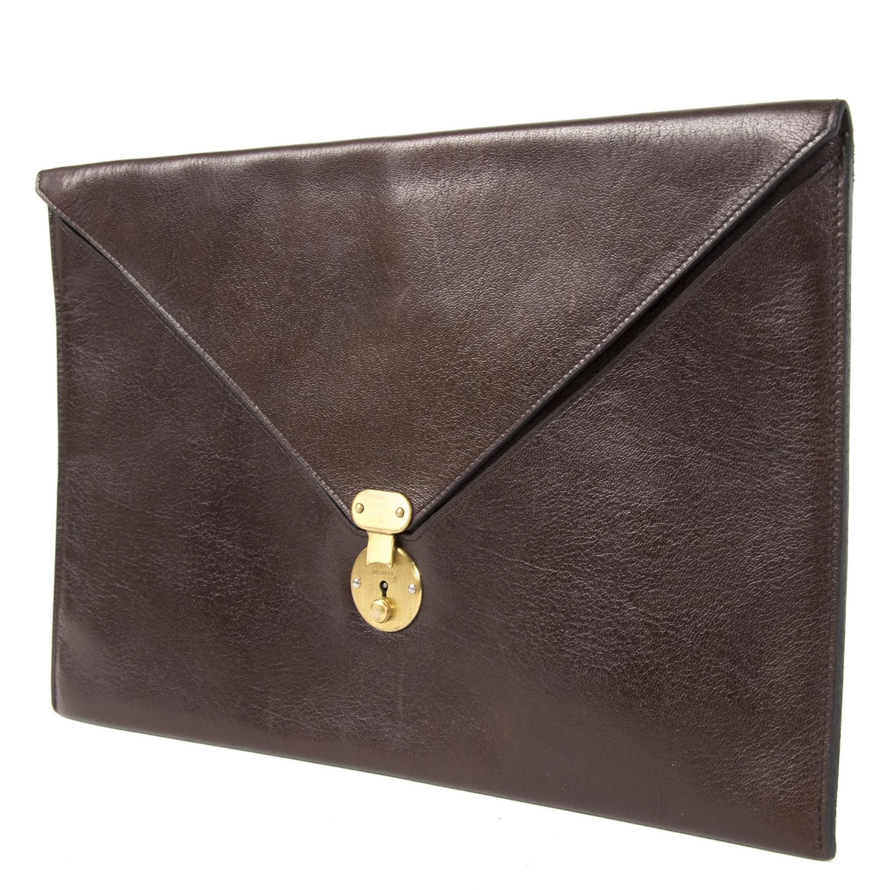 Authentieke Tweedehands Delvaux Dark Brown Leather Envelop Document Holder juiste prijs veilig online shoppen luxe merken webshop winkelen Antwerpen België mode fashion