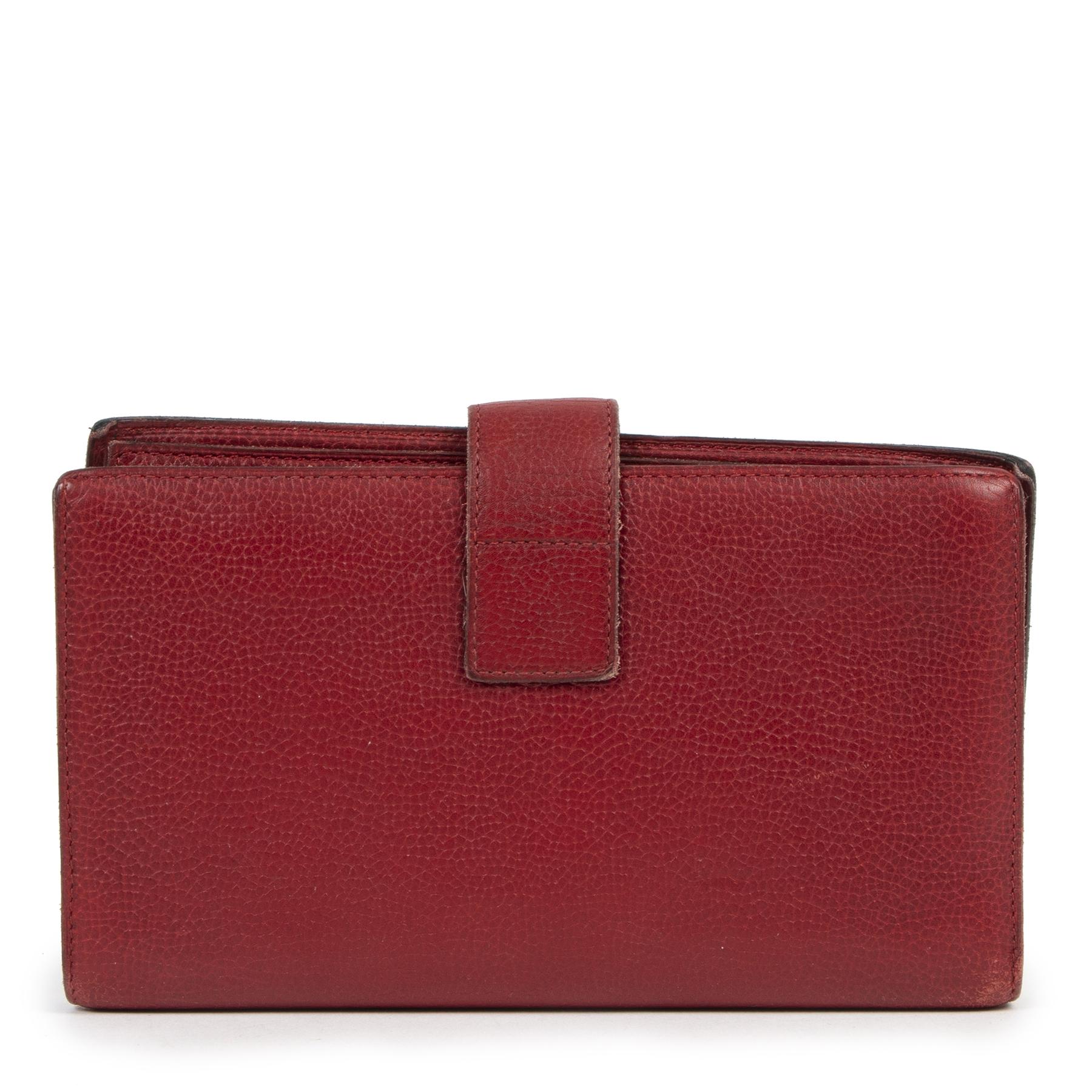 koop veilig online Delvaux Red Grained Wallet