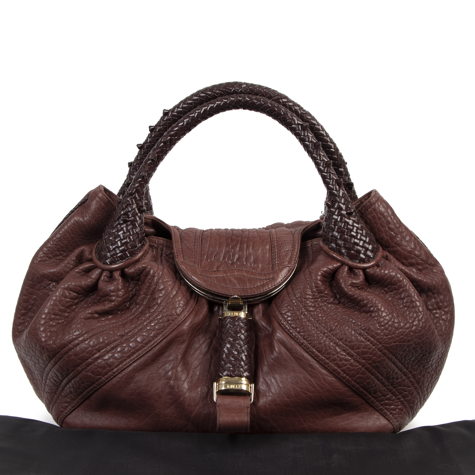Authentieke tweedehands vintage Fendi Burgundy Spy Bag koop online webshop LabelLOV