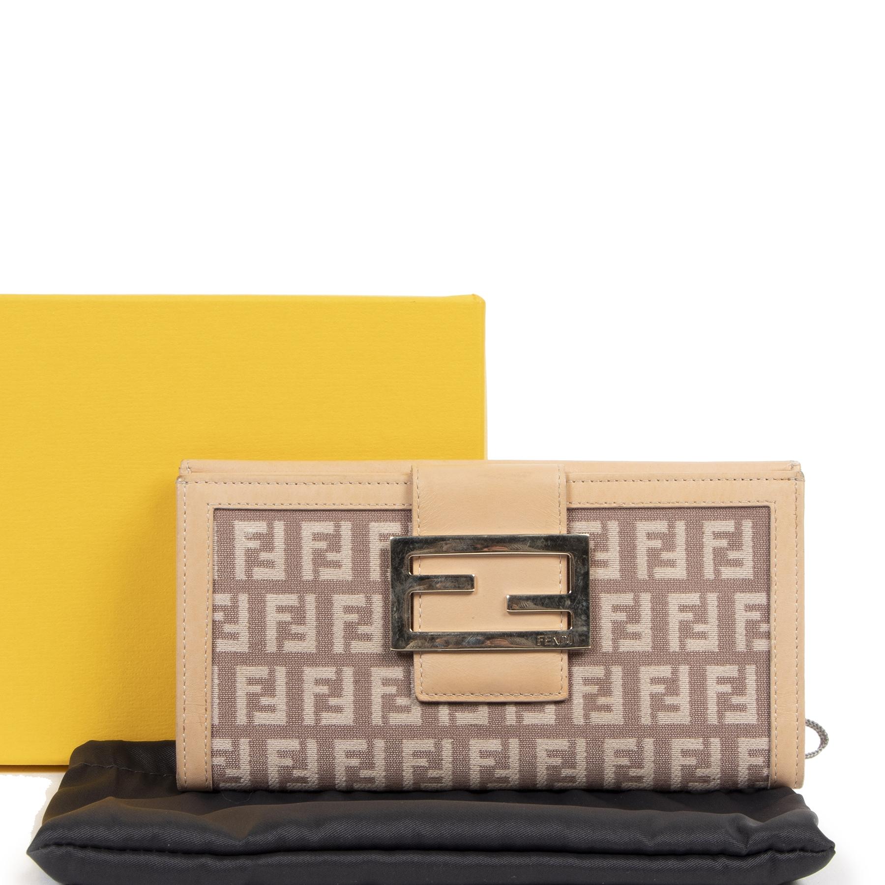 Authentieke tweedehands vintage Fendi Beige Zucchino Wallet koop online bij webshop LabelLOV