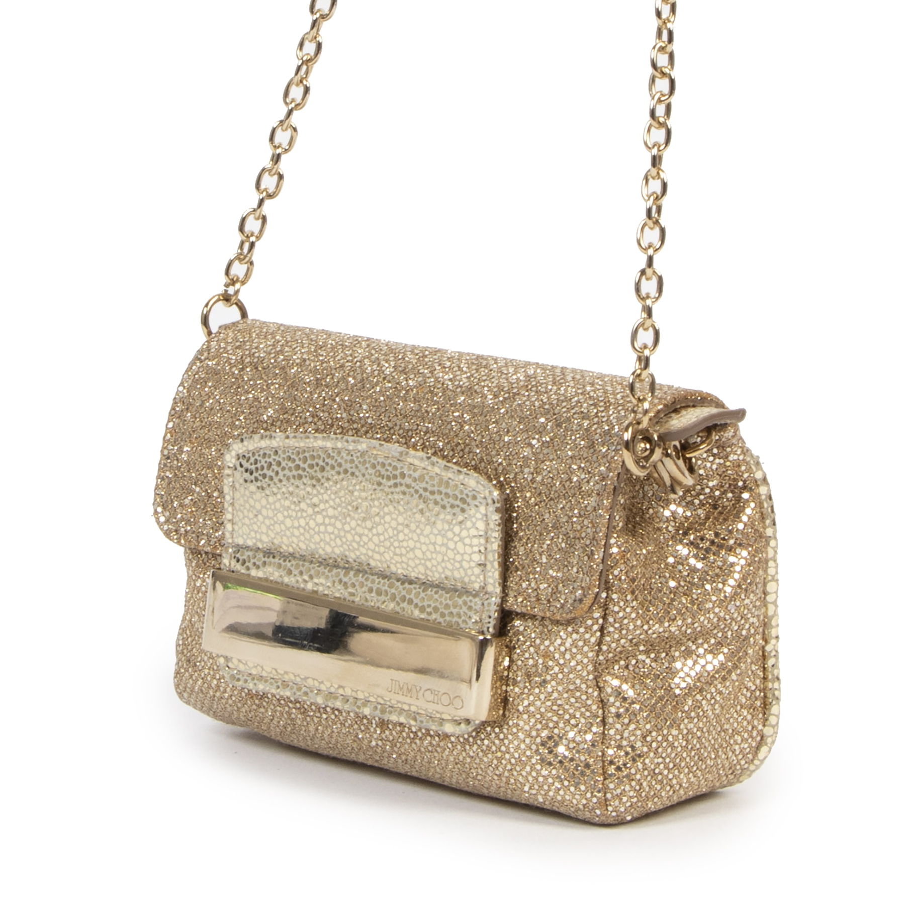 Authentic secondhand Jimmy Choo Gold Rebel Glitter Mini Bag designer bags fashion luxury vintage webshop safe secure online shopping
