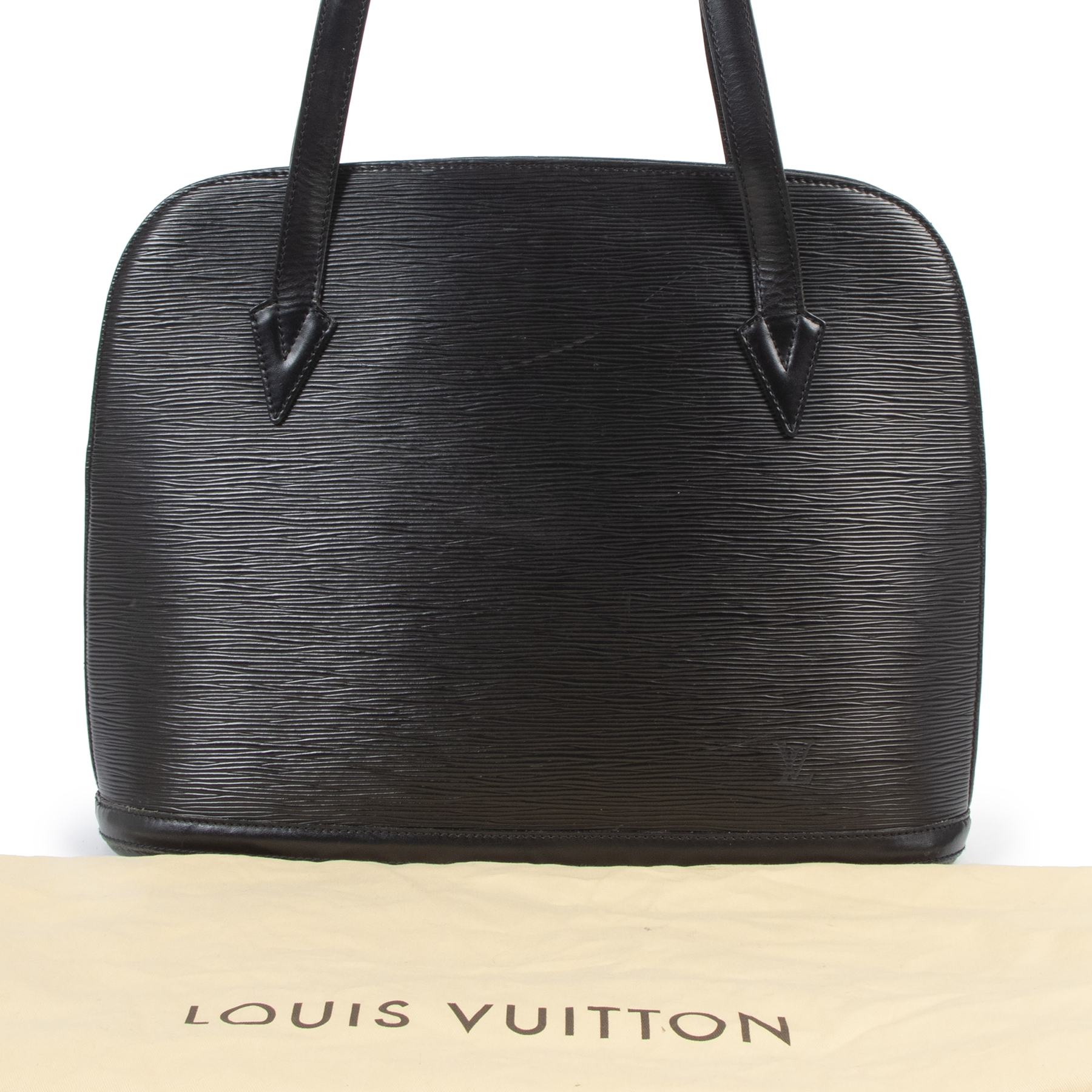 Authentic secondhand  Louis Vuitton Black Epi Leather Lussac Tote designer bags fashion luxury vintage webshop safe secure online shopping