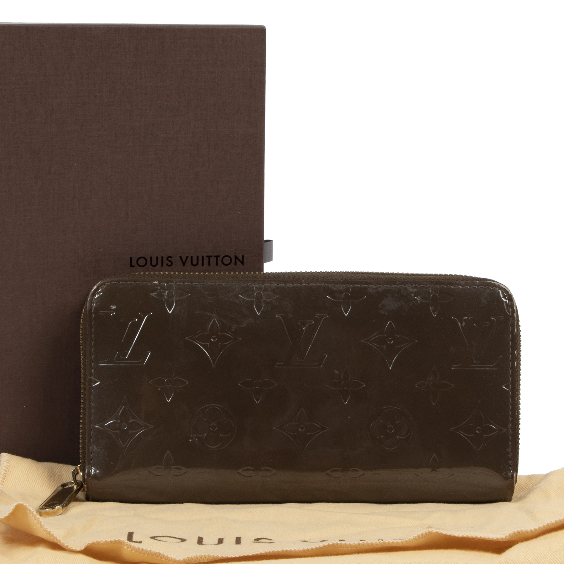 Authentic second-hand vintage Louis Vuitton Brown Vernis Zippy Wallet buy online webshop LabelLOV