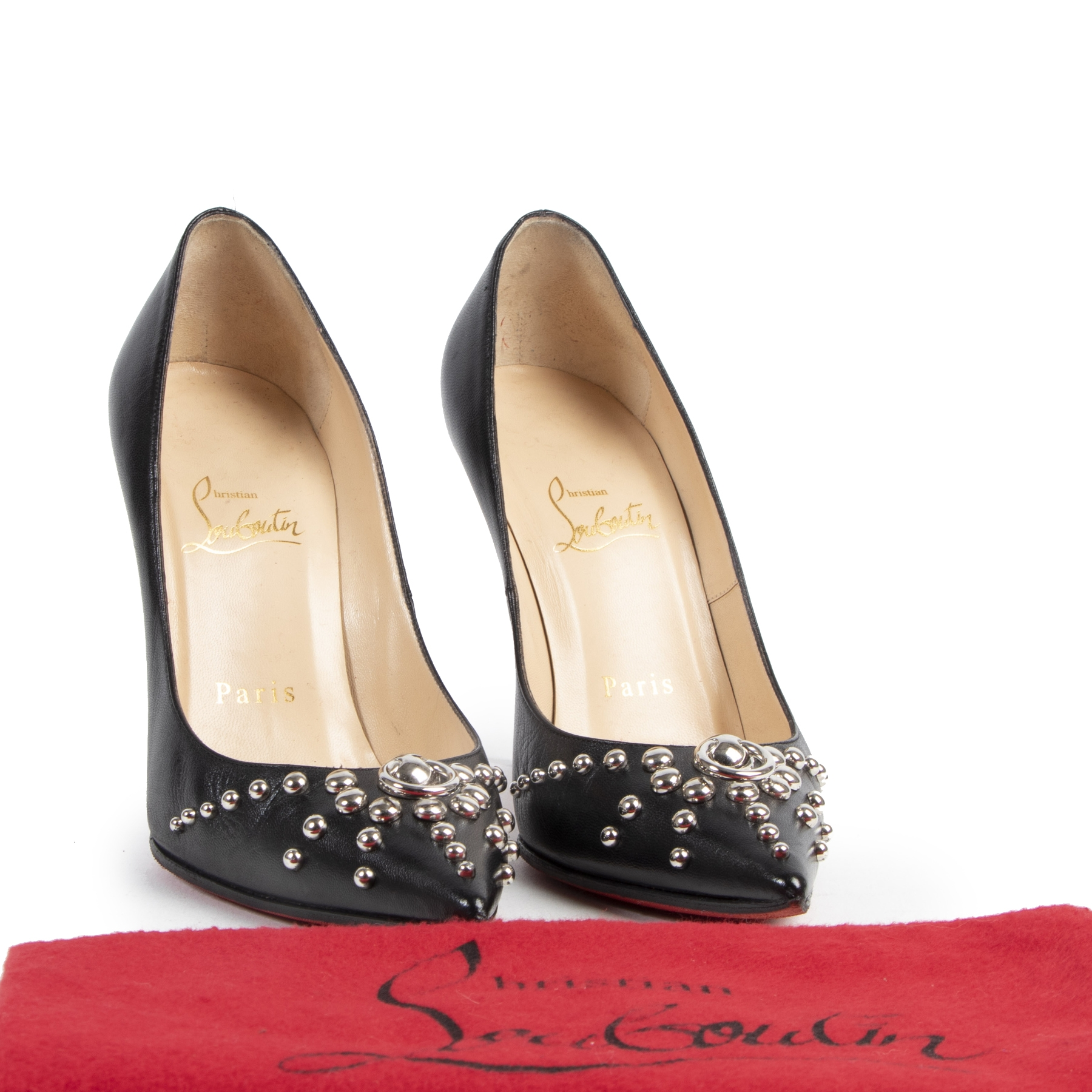Authentic secondhand Louboutin Door Knock Studded Heels - Size 36 designer shoes heels fashion luxury vintage webshop safe secure online shopping designer high end brands