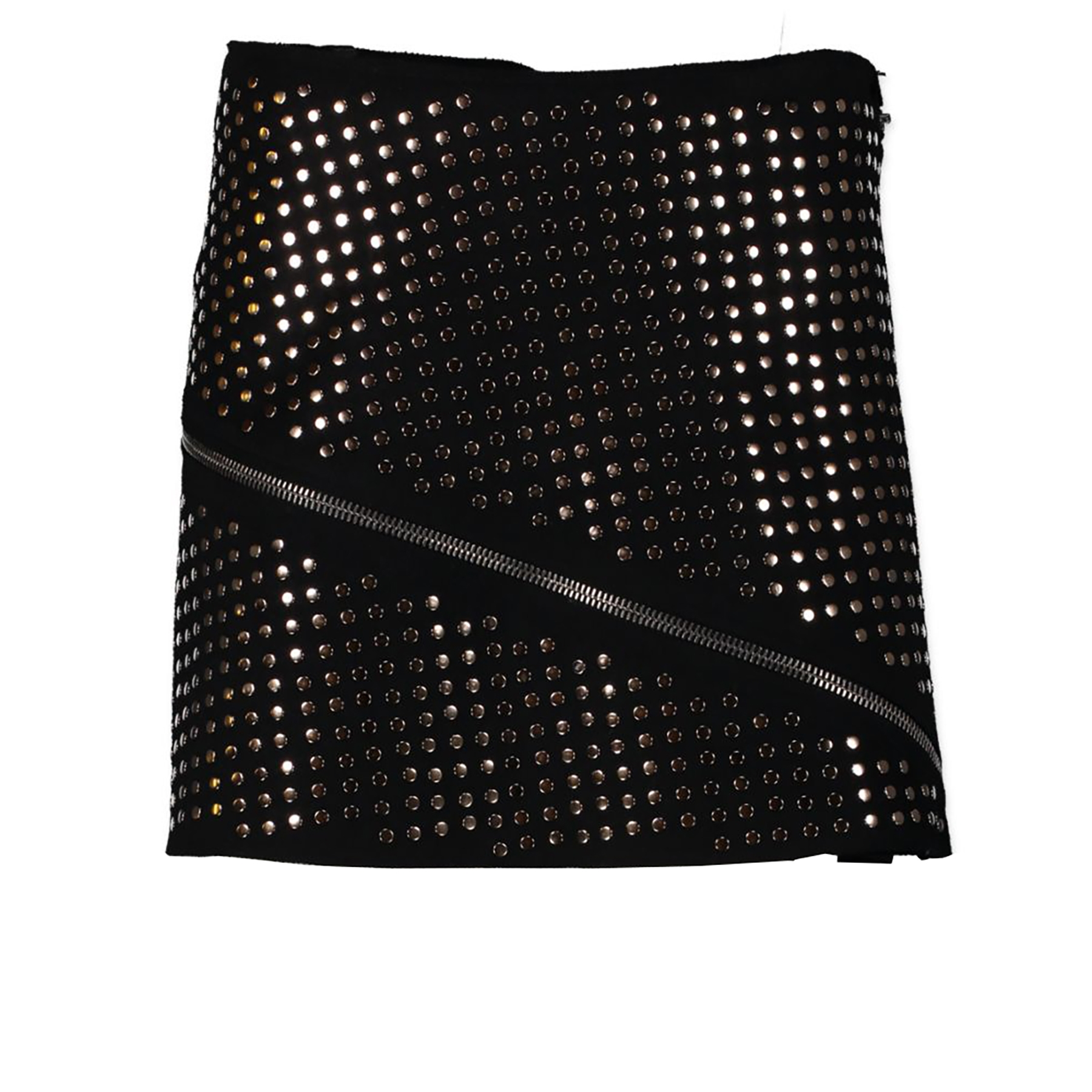 Authentic secondhand Roberto Cavalli Black Wool Studs Skirt - Size 42 designer clothing designer brands fashion luxury vintage webshop