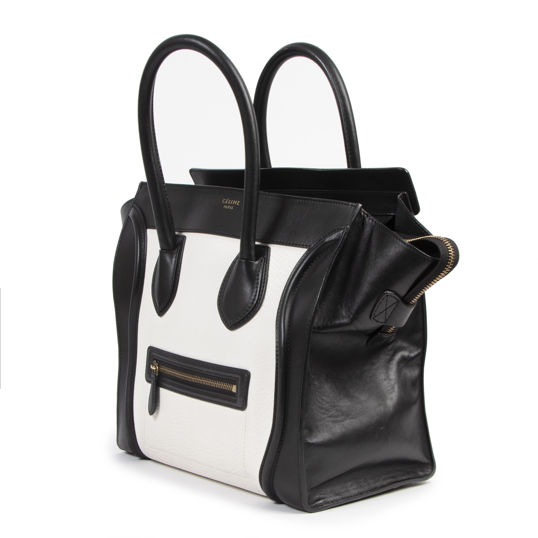 Authentic secondhand Céline Black & White Mini Luggage Tote luxury vintage webshop fashion safe secure online shopping