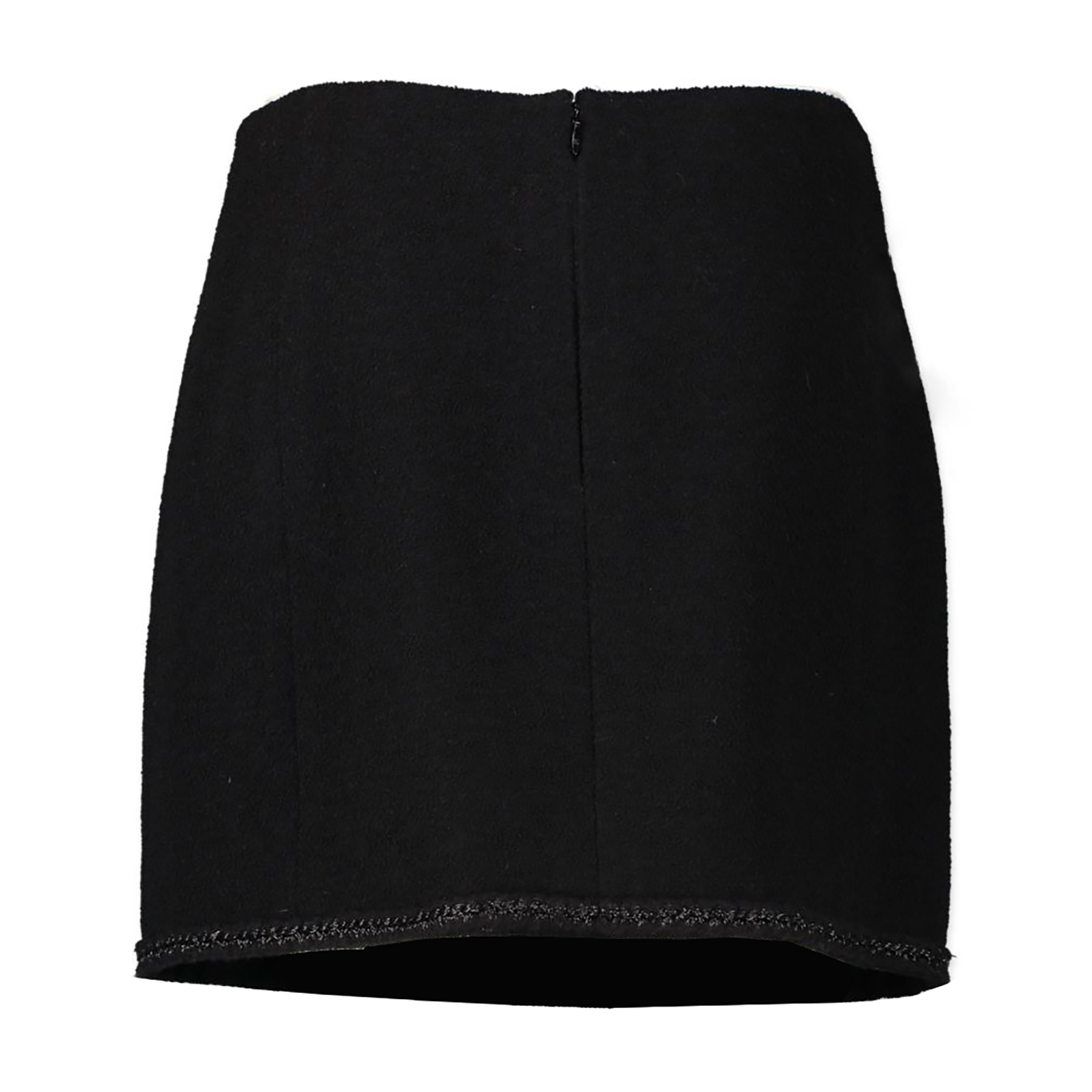 Authentic second-hand vintage Chanel Black Wool Mini Skirt - Size FR48 buy online webshop LabelLOV