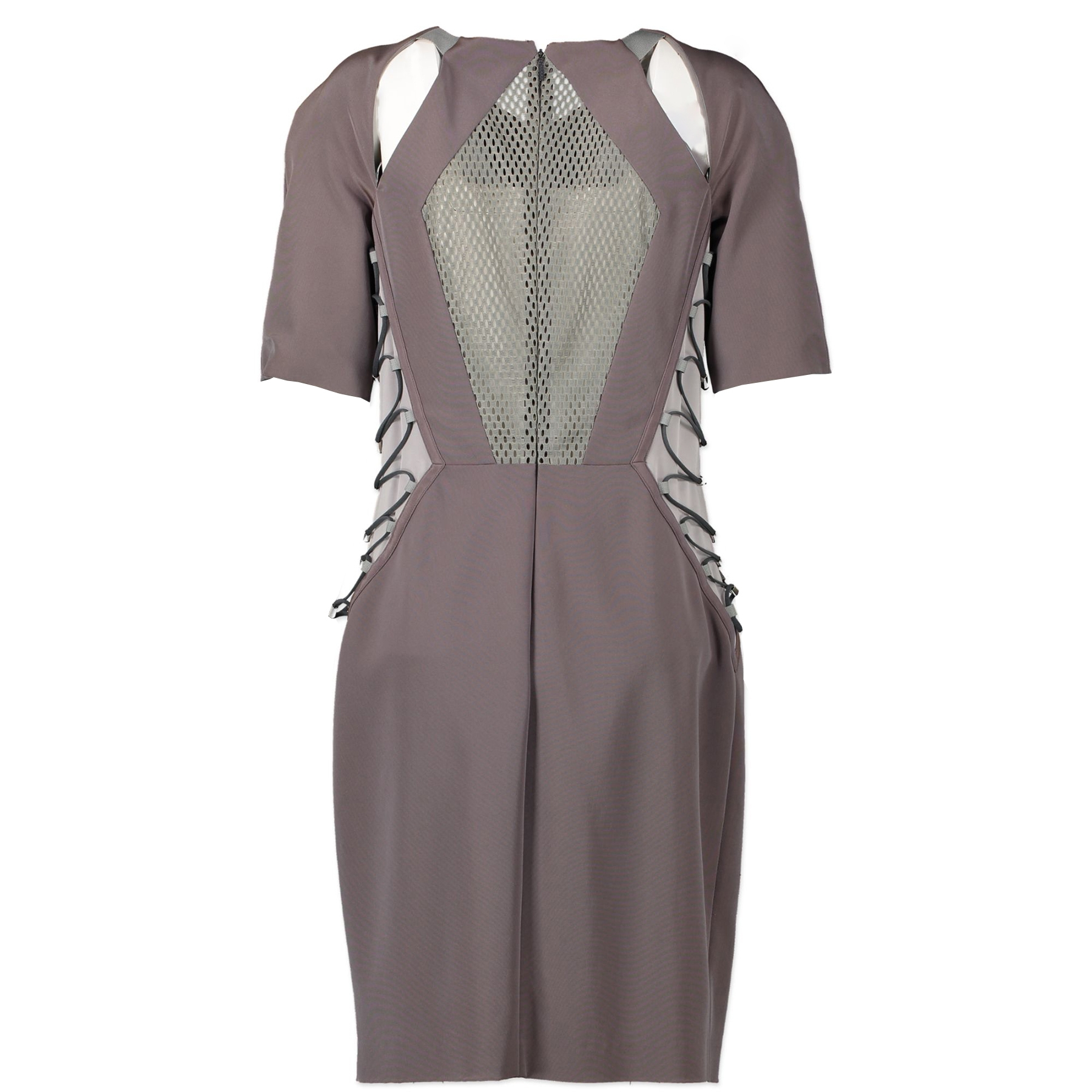 Authentieke tweedehands vintage Gucci Dark Grey Metal Bodycon Dress - Size IT44 koop online webshop LabelLOV