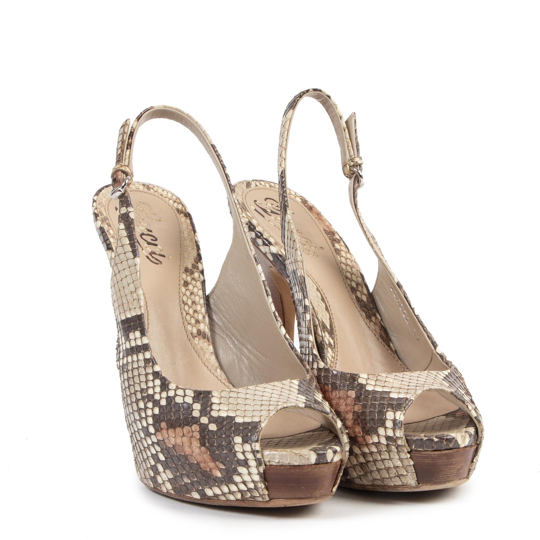 Gucci Brown Snakeskin Peep Toe pumps te koop bij Labellov in Antwerpen